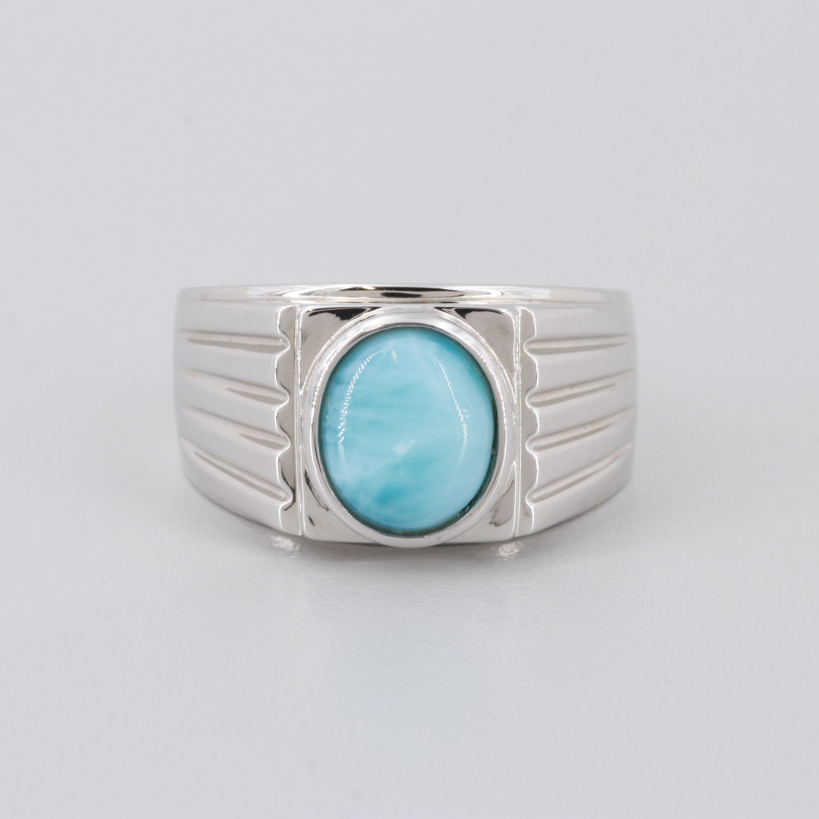 Sterling Silver Larimar Cabochon Ring