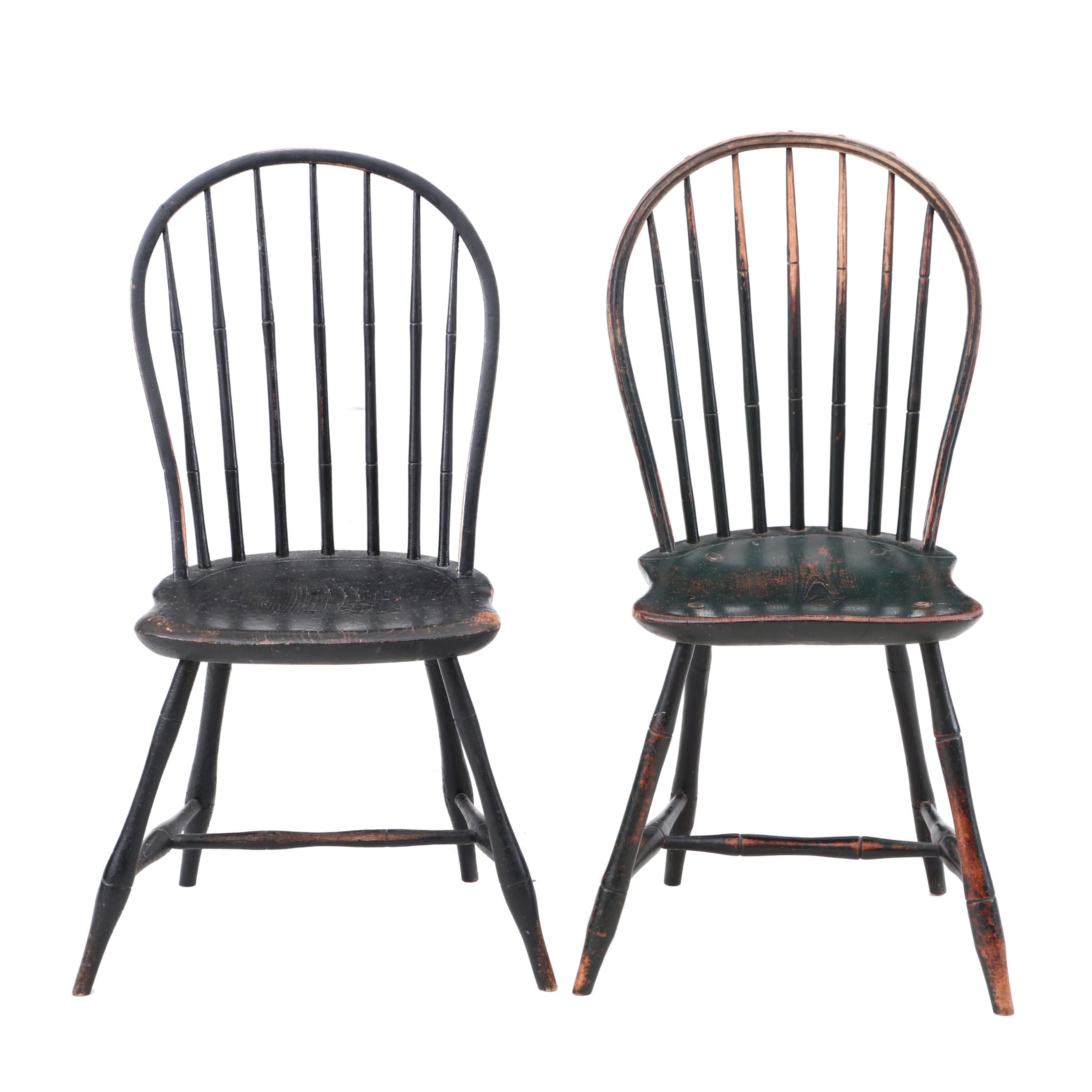 American Early 19th Century Bow-Back Windsor Chairs