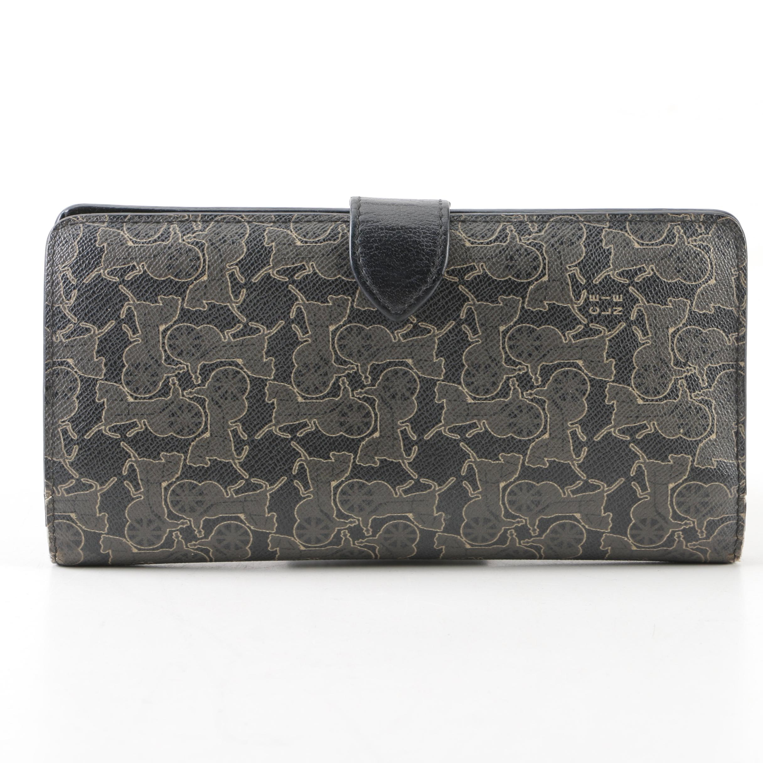 Céline Carriage Print Yen Holder Wallet with Leather Trim