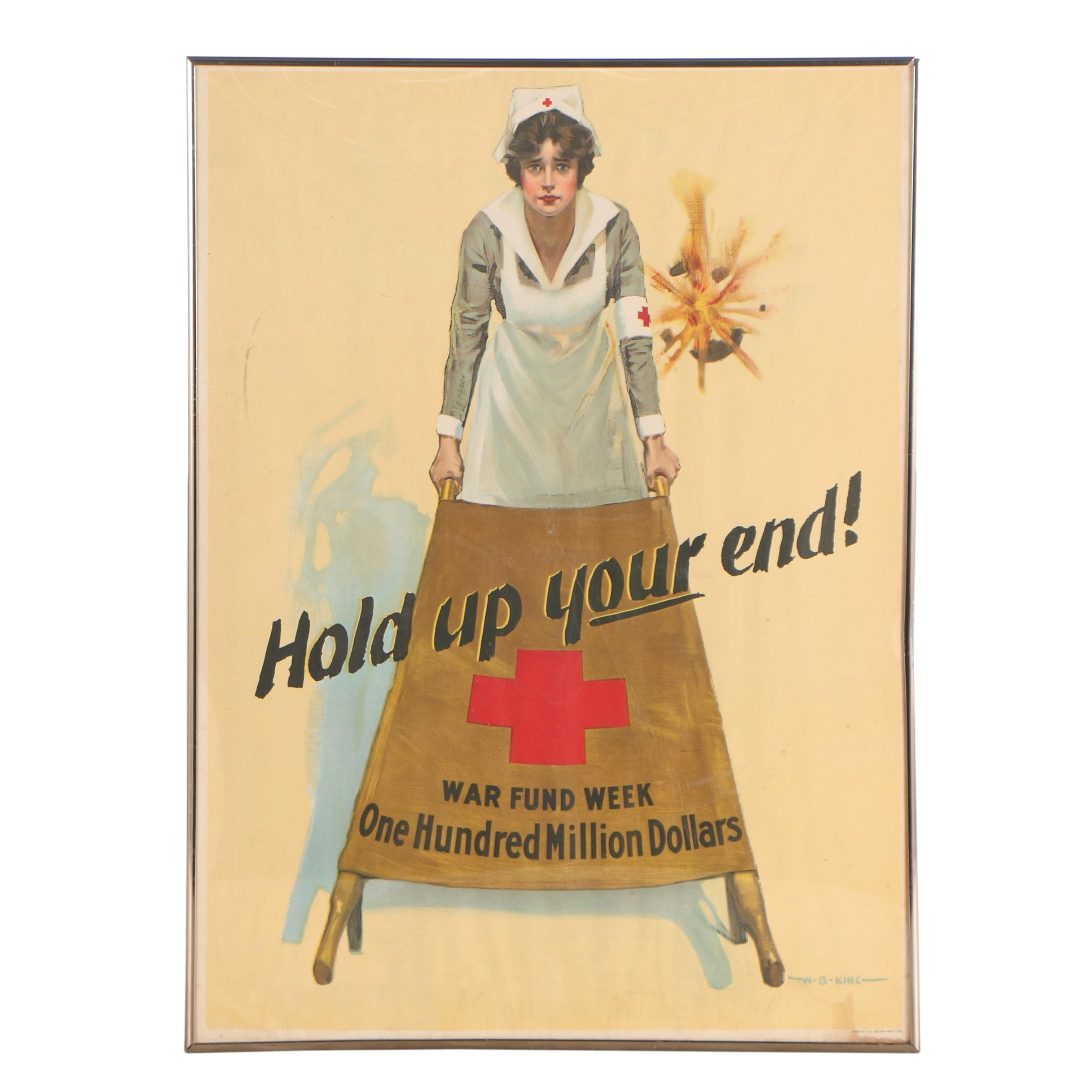 "WWI Red Cross Poster after W.B. King ""Hold Up Your End"""
