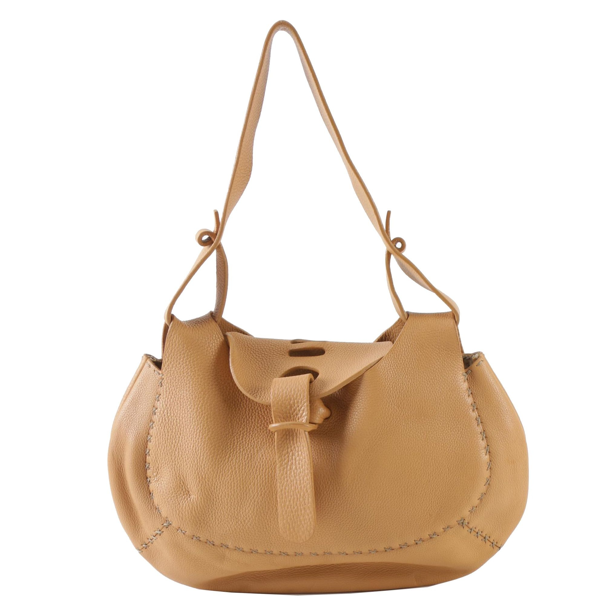 Fendi Tan Selleria Leather Cross-Stitch Hobo Bag with Sterling Silver Plaque