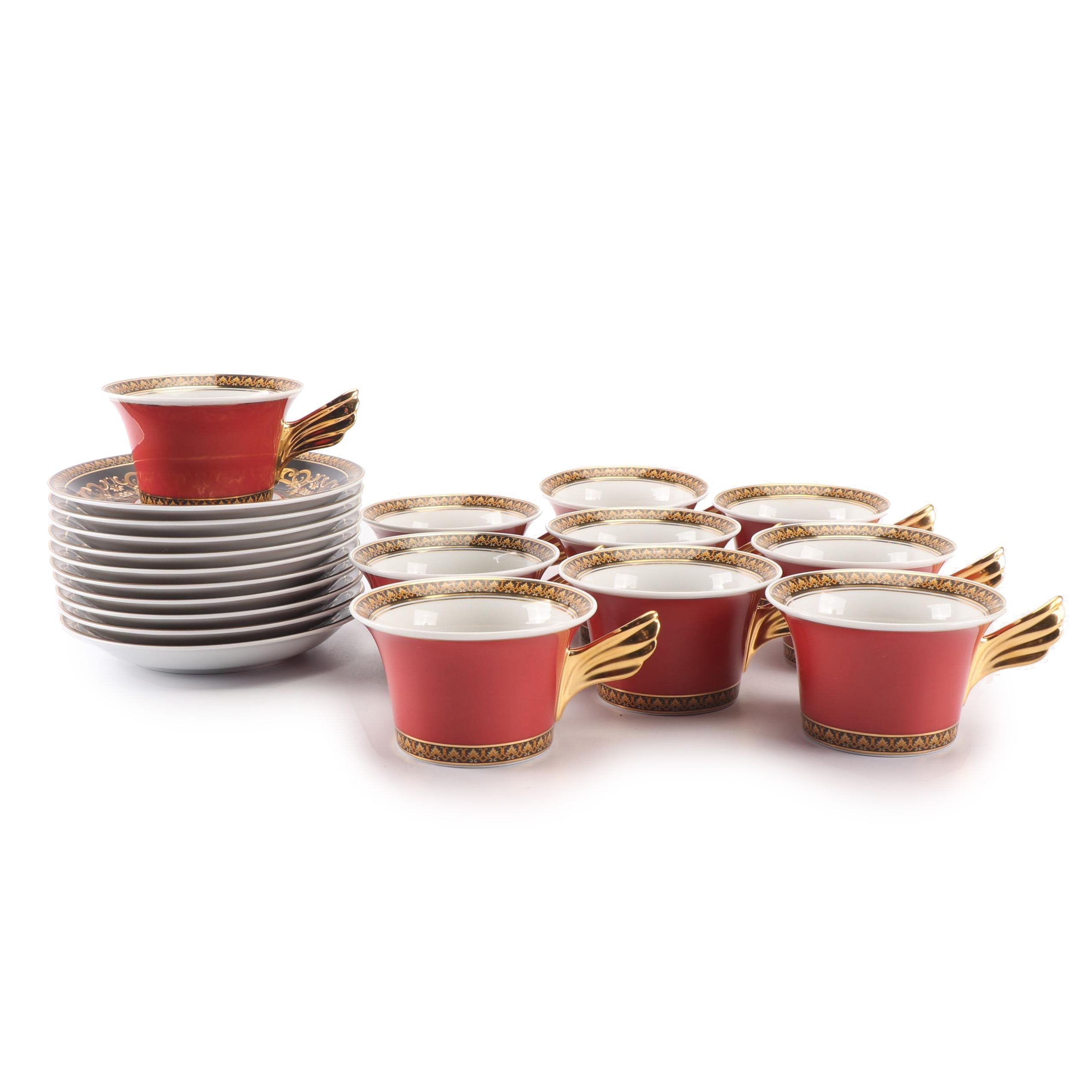 "Versace for Rosenthal ""Medusa Red"" Porcelain Flat Cups and Saucers"