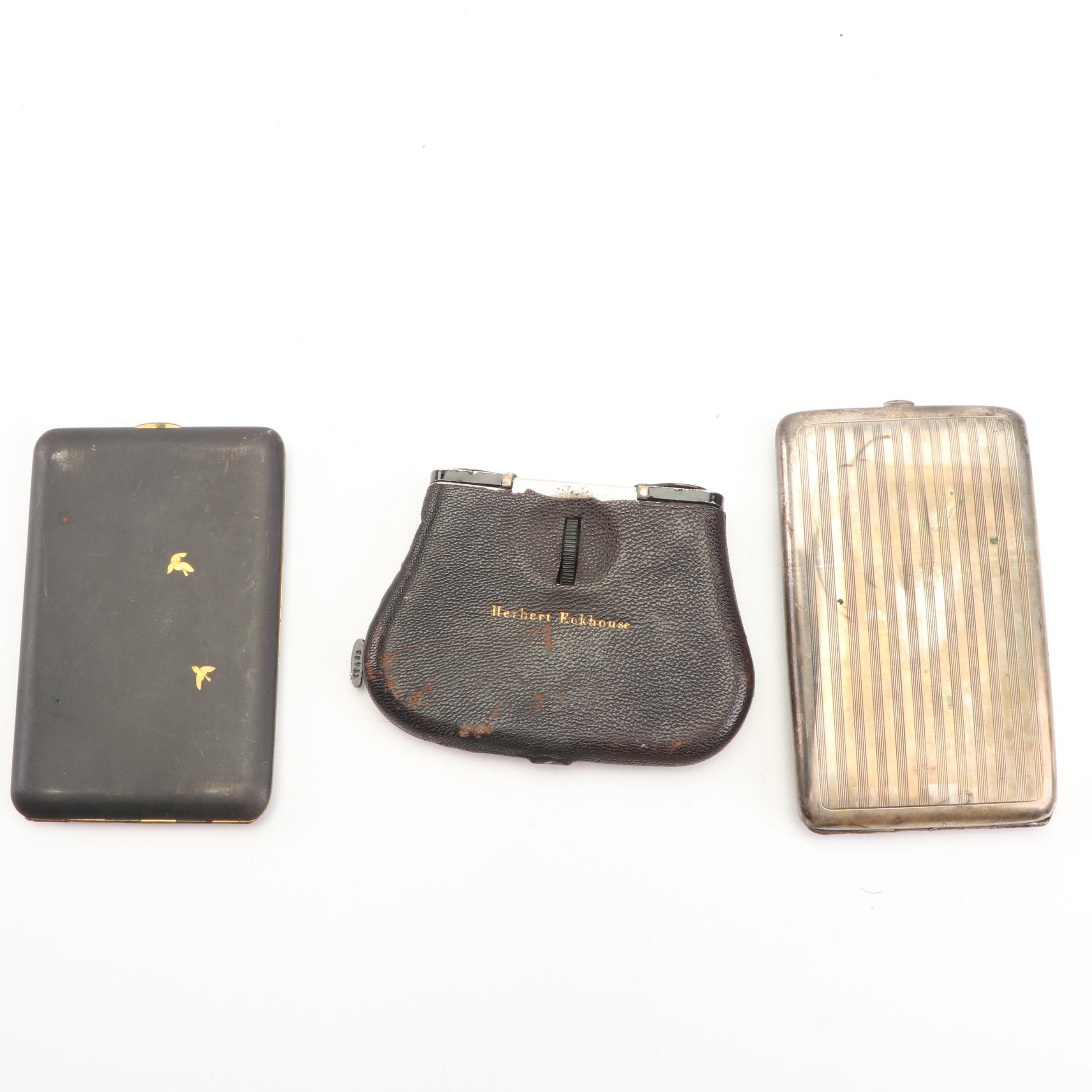 Pocoscope Opera Glasses with German 800 Silver and Damascene Cigarette Cases