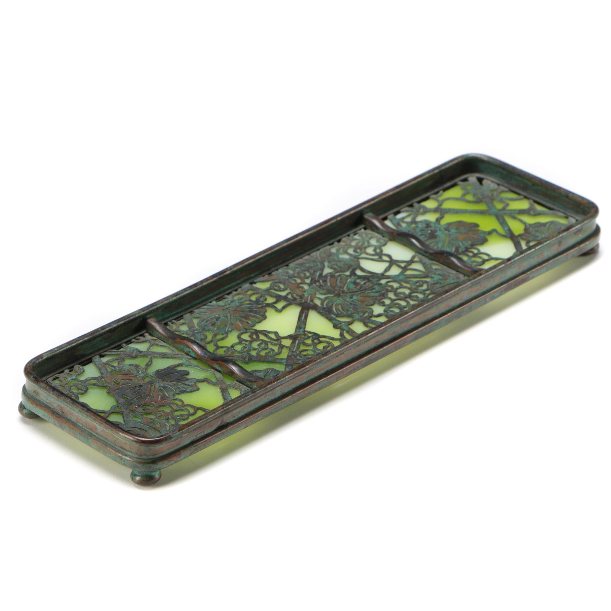 "Tiffany Studios ""Grapevine"" Bronze and Slag Glass Pen Tray, Early 20th Century"