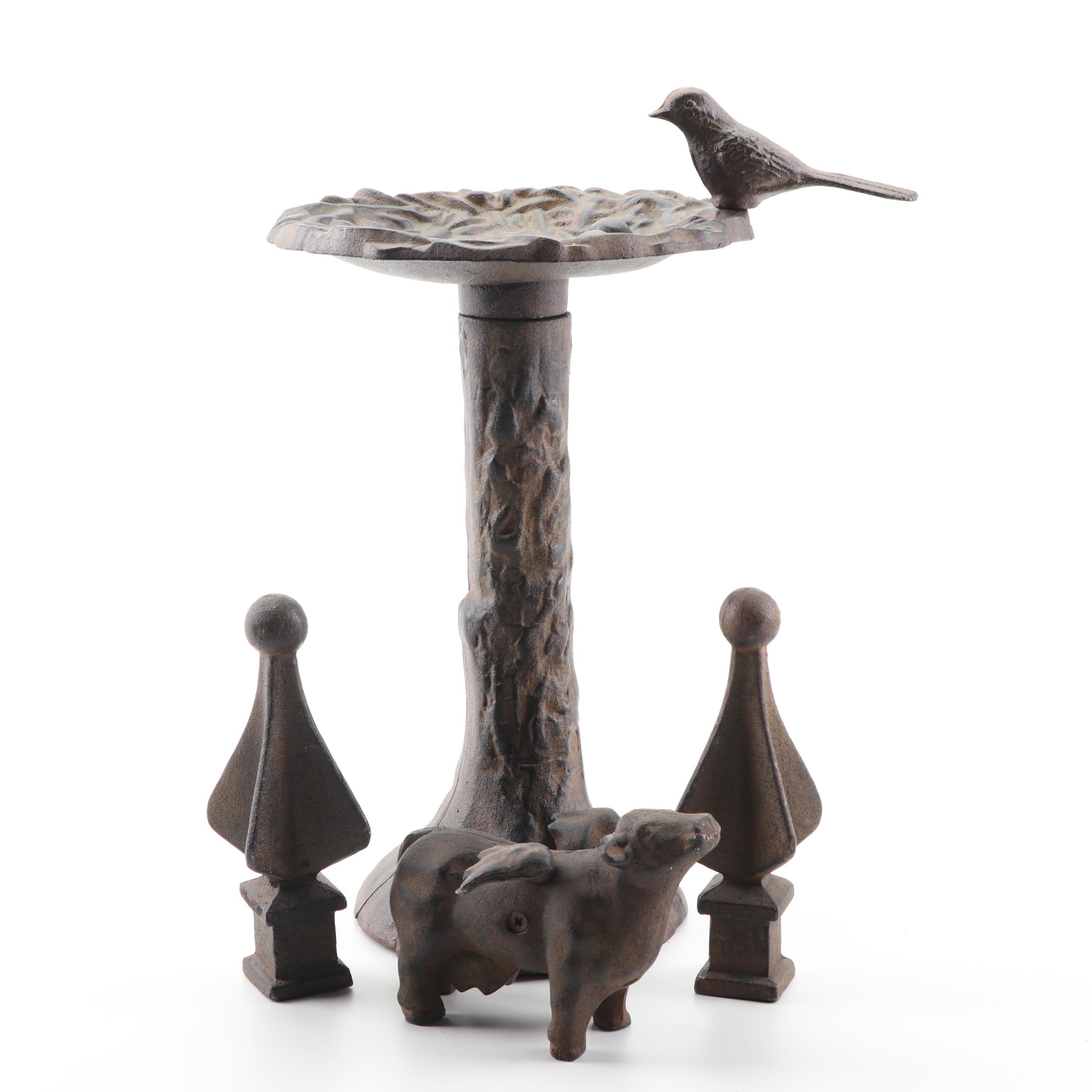 Cast Iron Porcine Figurine, Finials, and Bird Feeder