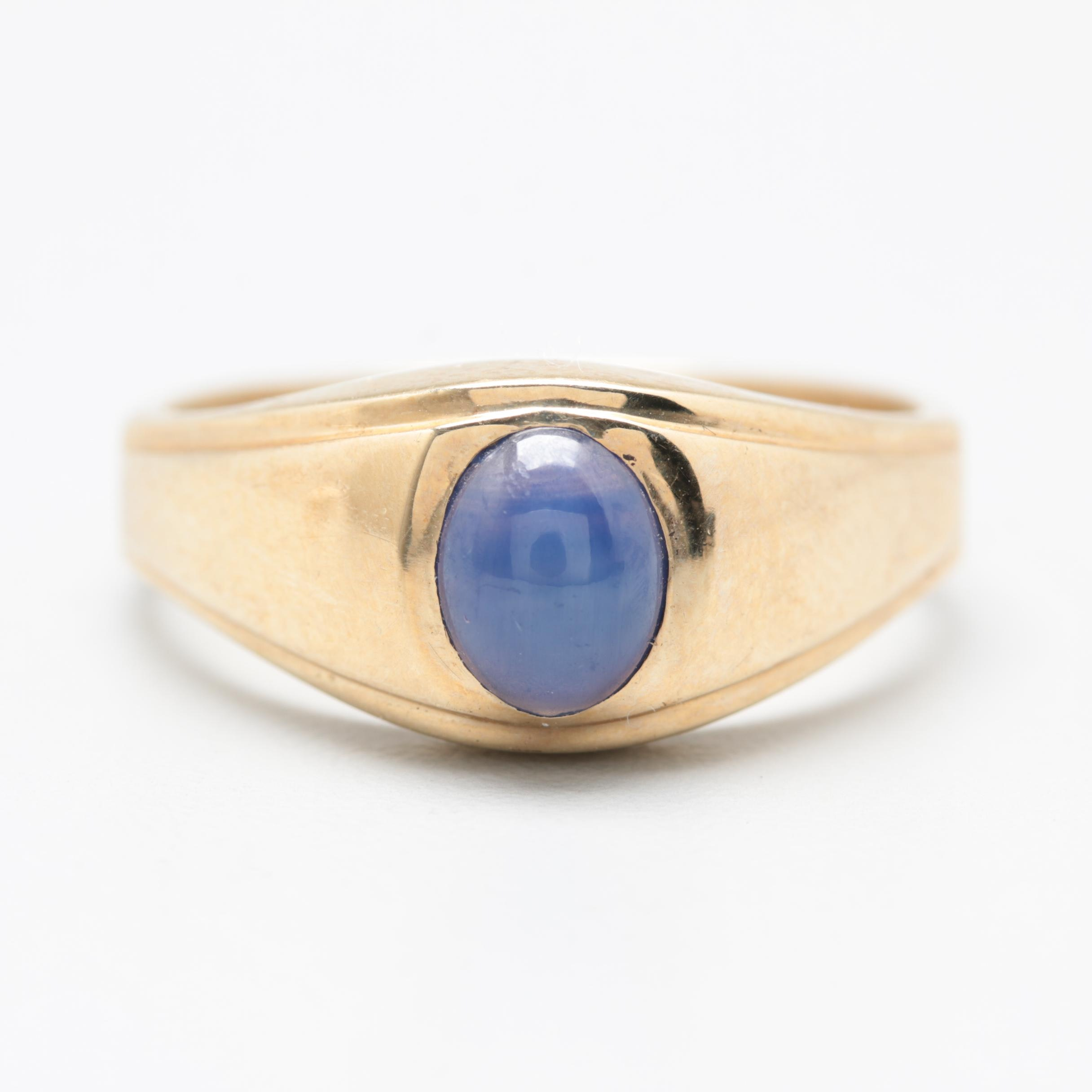10K Yellow Gold Synthetic Star Sapphire Ring