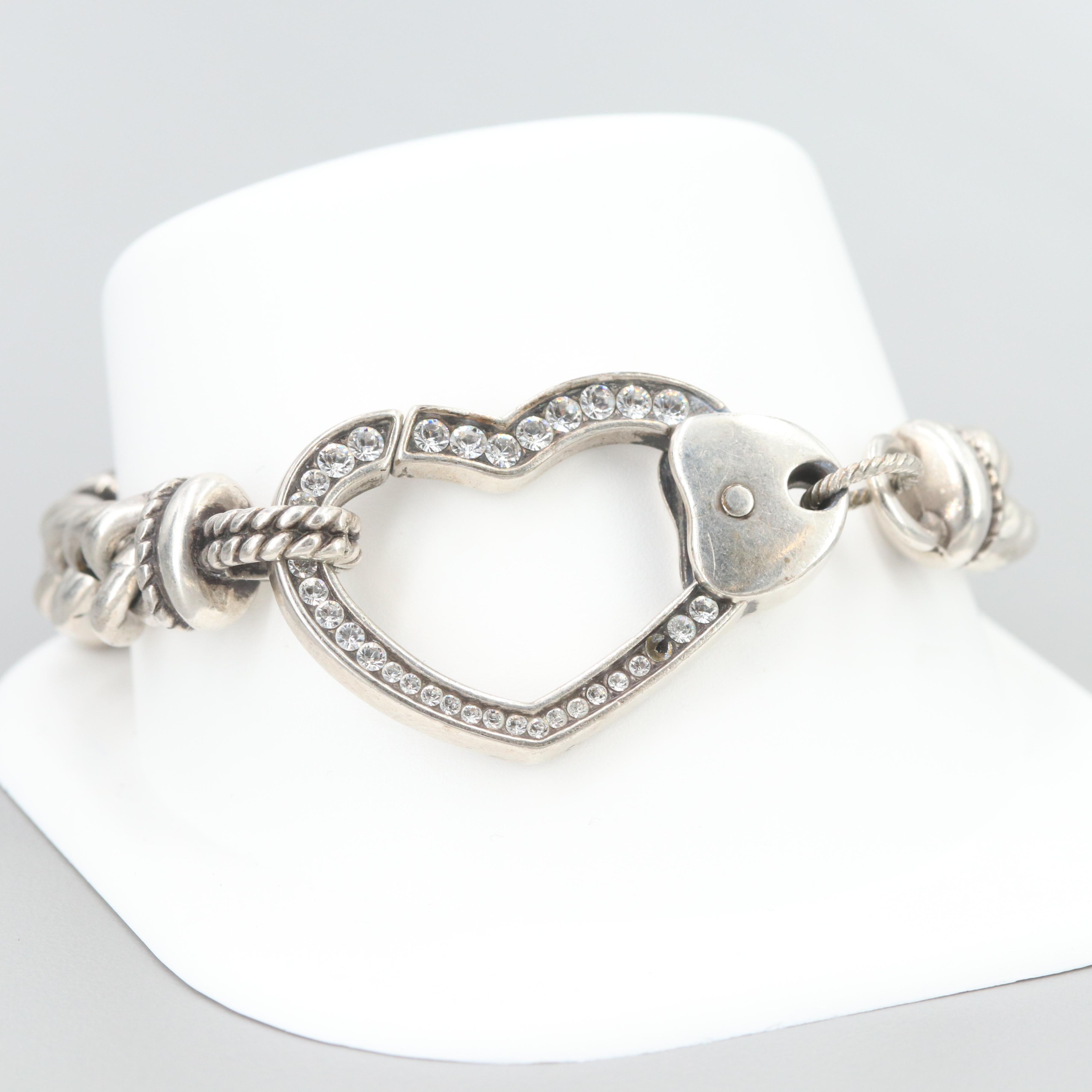 Silver Tone Glass Crystal Heart Bracelet