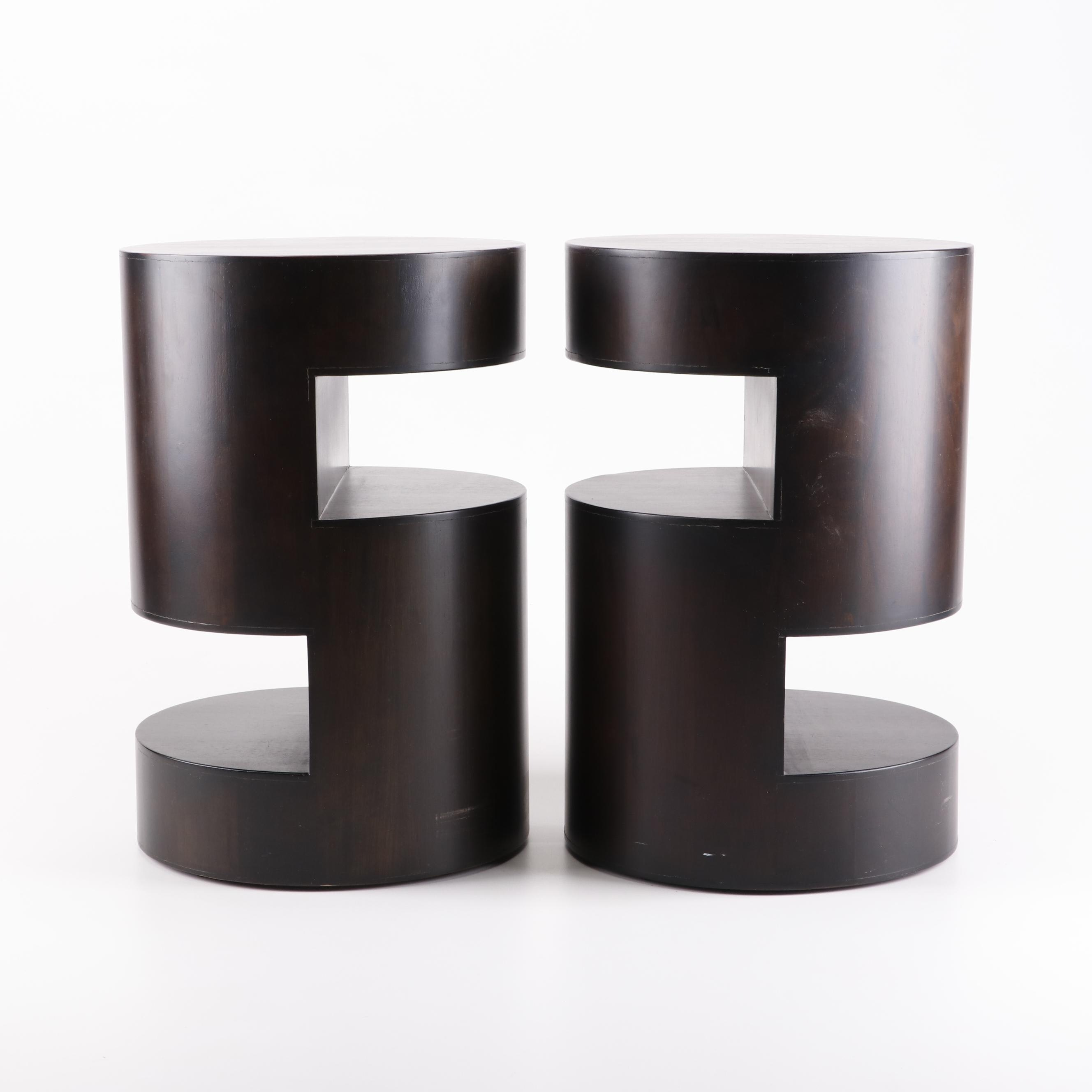 Modern Style S-Shaped Walnut Stained Wood Circular Side Tables, 21st Century