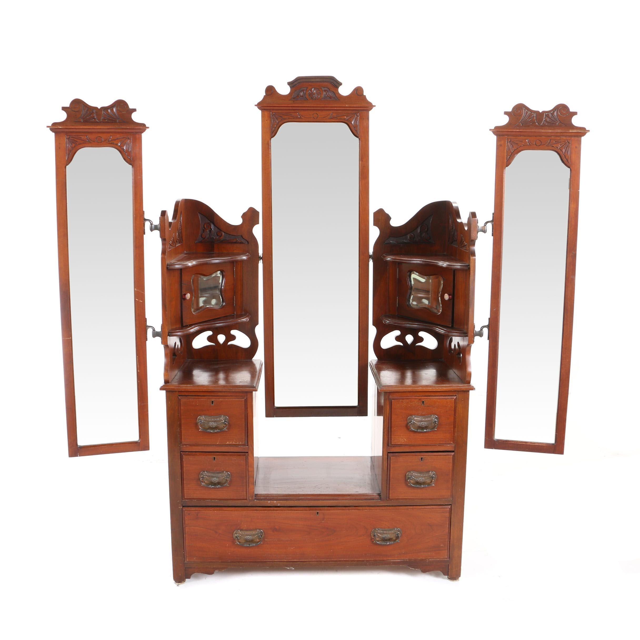 Edwardian Walnut Triple-Mirror Dressing Table, Early 20th Century