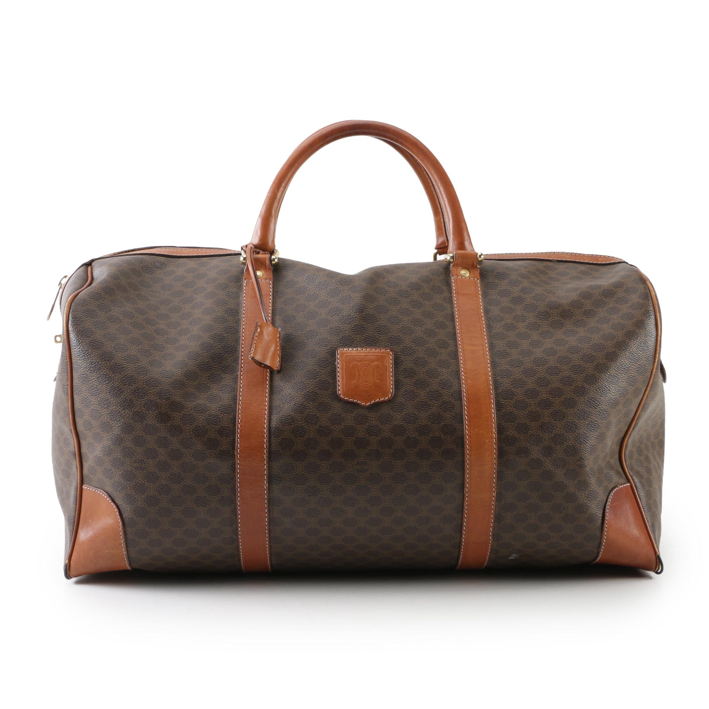Vintage Céline Paris Macadam Boston Weekender Bag with Leather Trim