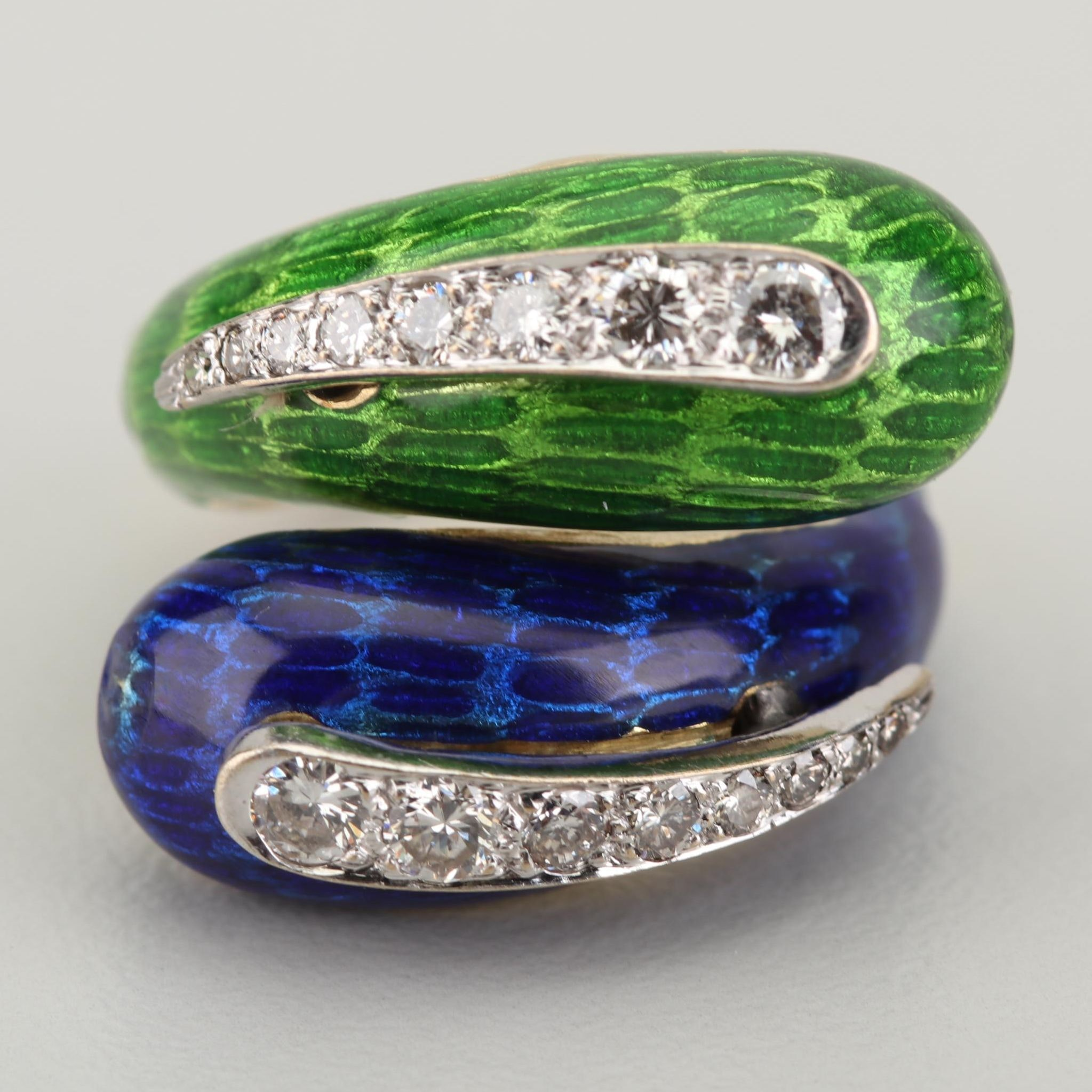 18K Yellow Gold Diamond and Enamel Bypass Ring