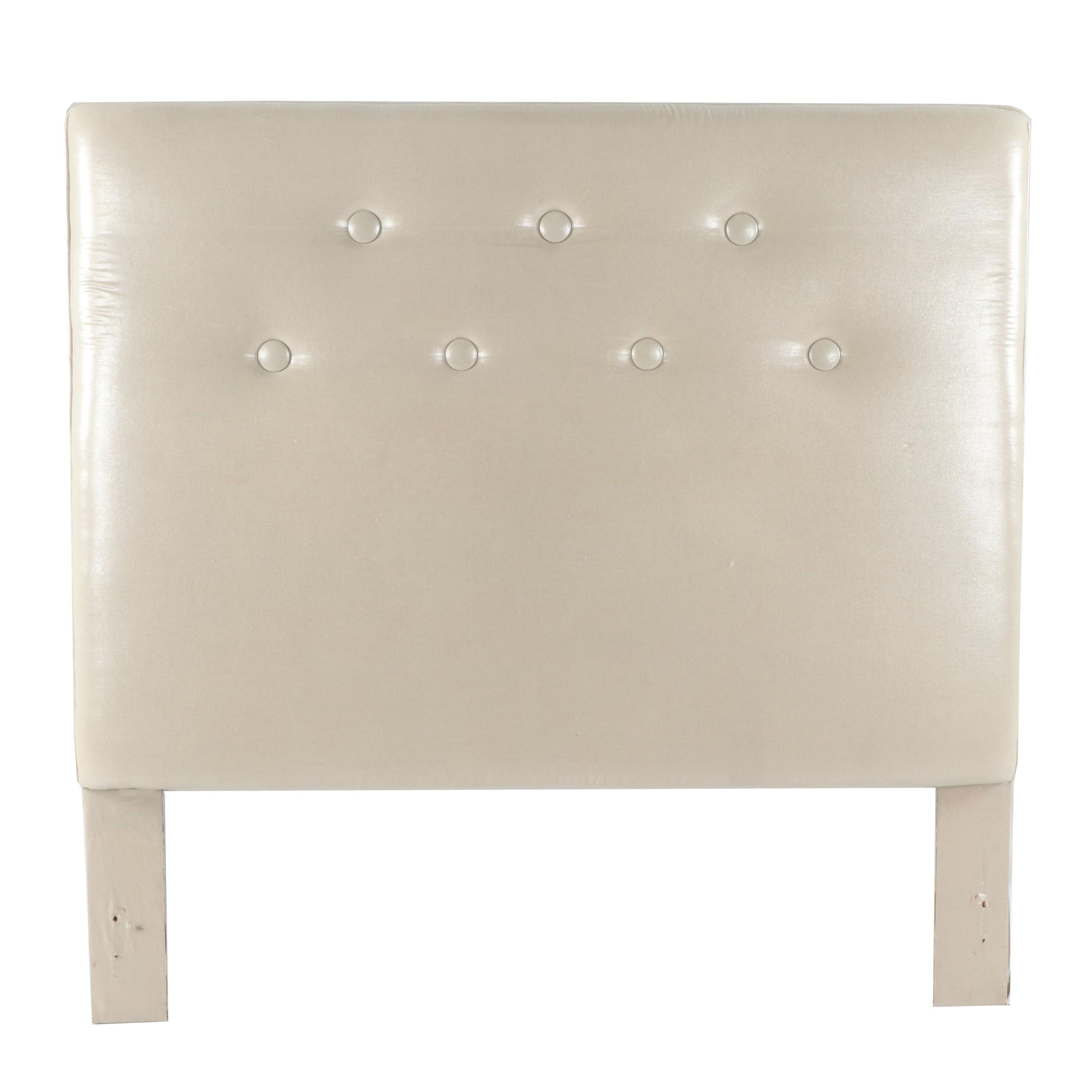 Button-Tufted Upholstered Queen Size Headboard, 21st Century