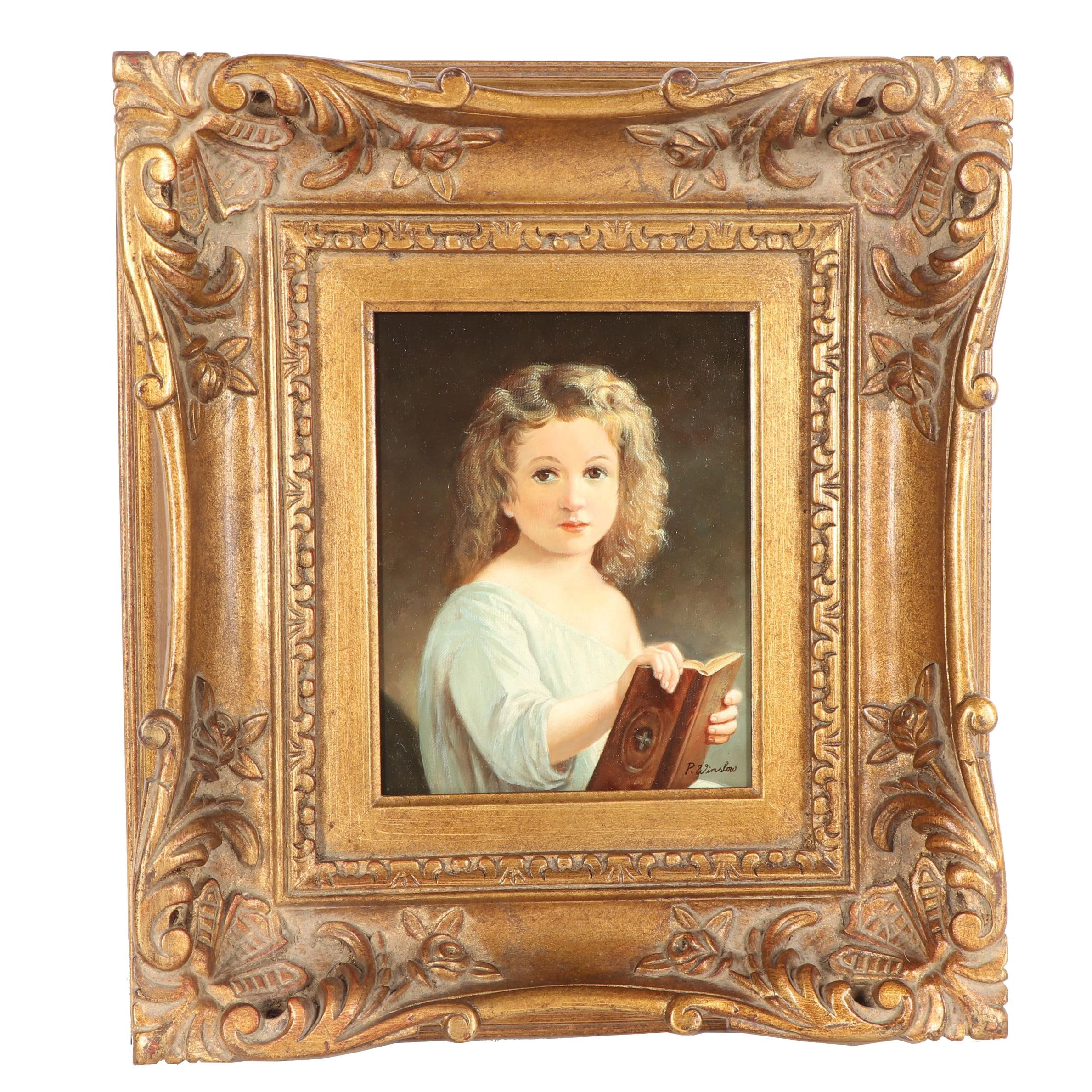 "P. Winslow Portrait after William Adolphe Bouguereau ""The Story Book"""