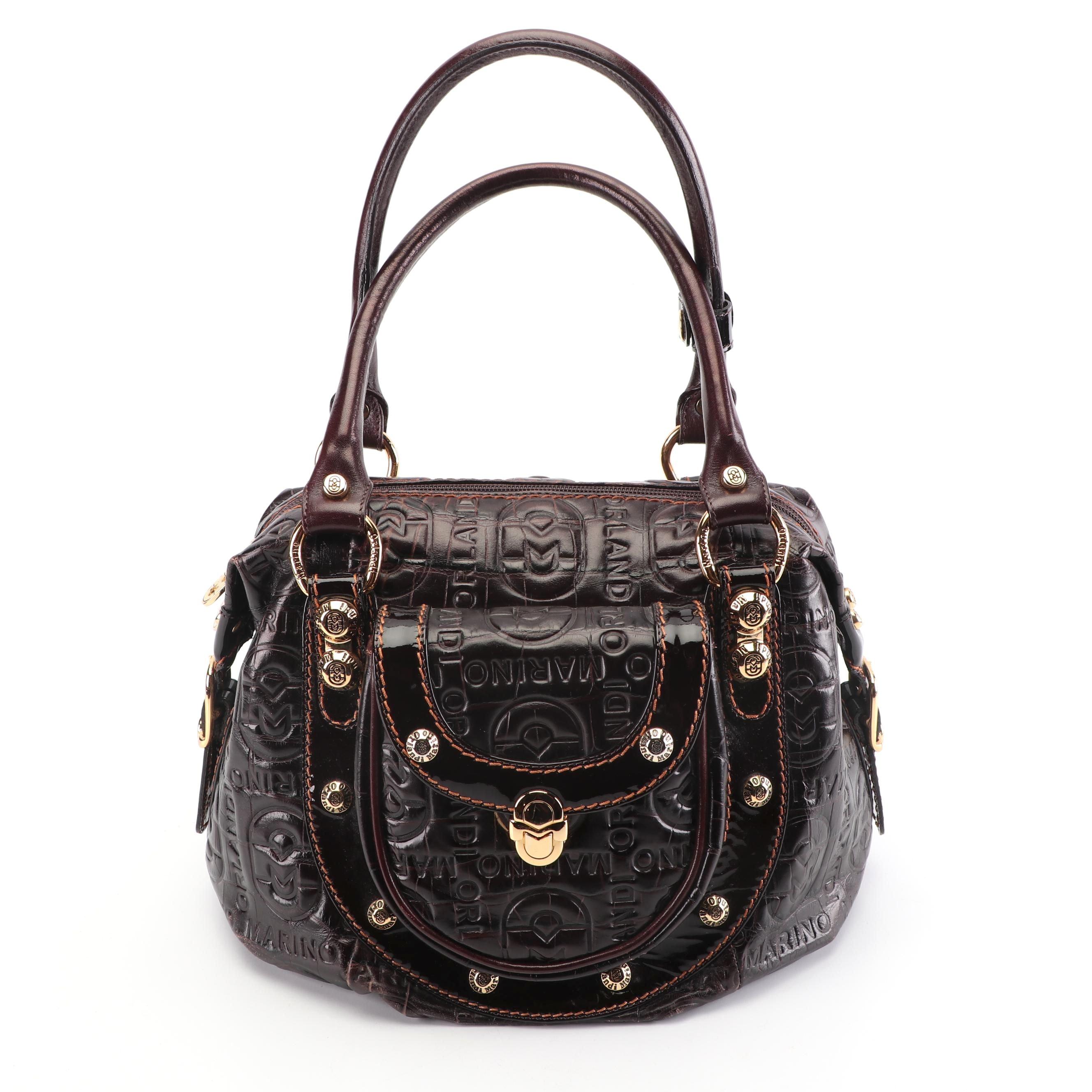 Marino Orlandi Signature Embossed Dark Brown Leather Handbag, Made in Italy
