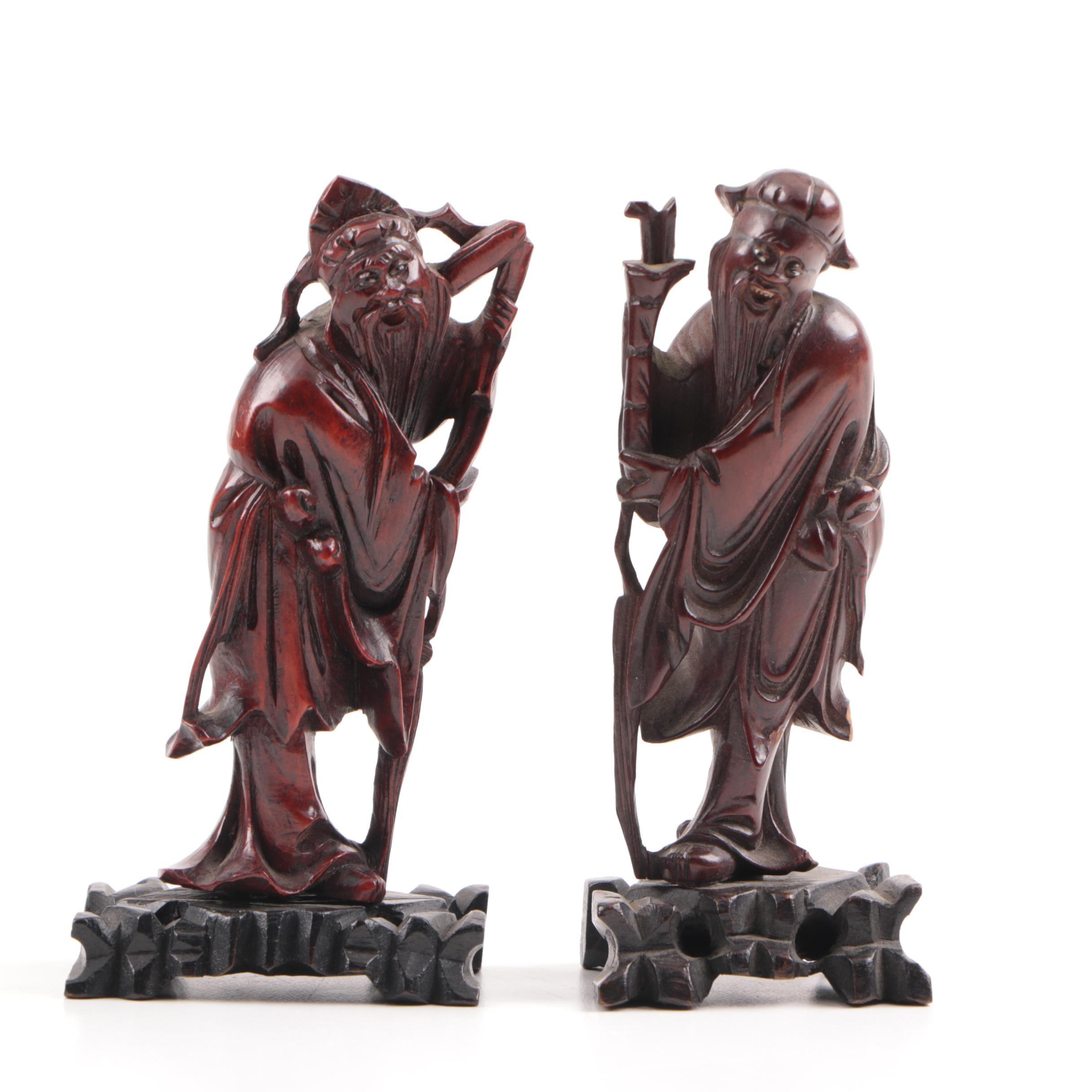 Pair of Chinese Carved Hardwood Peasant Figures, Republic