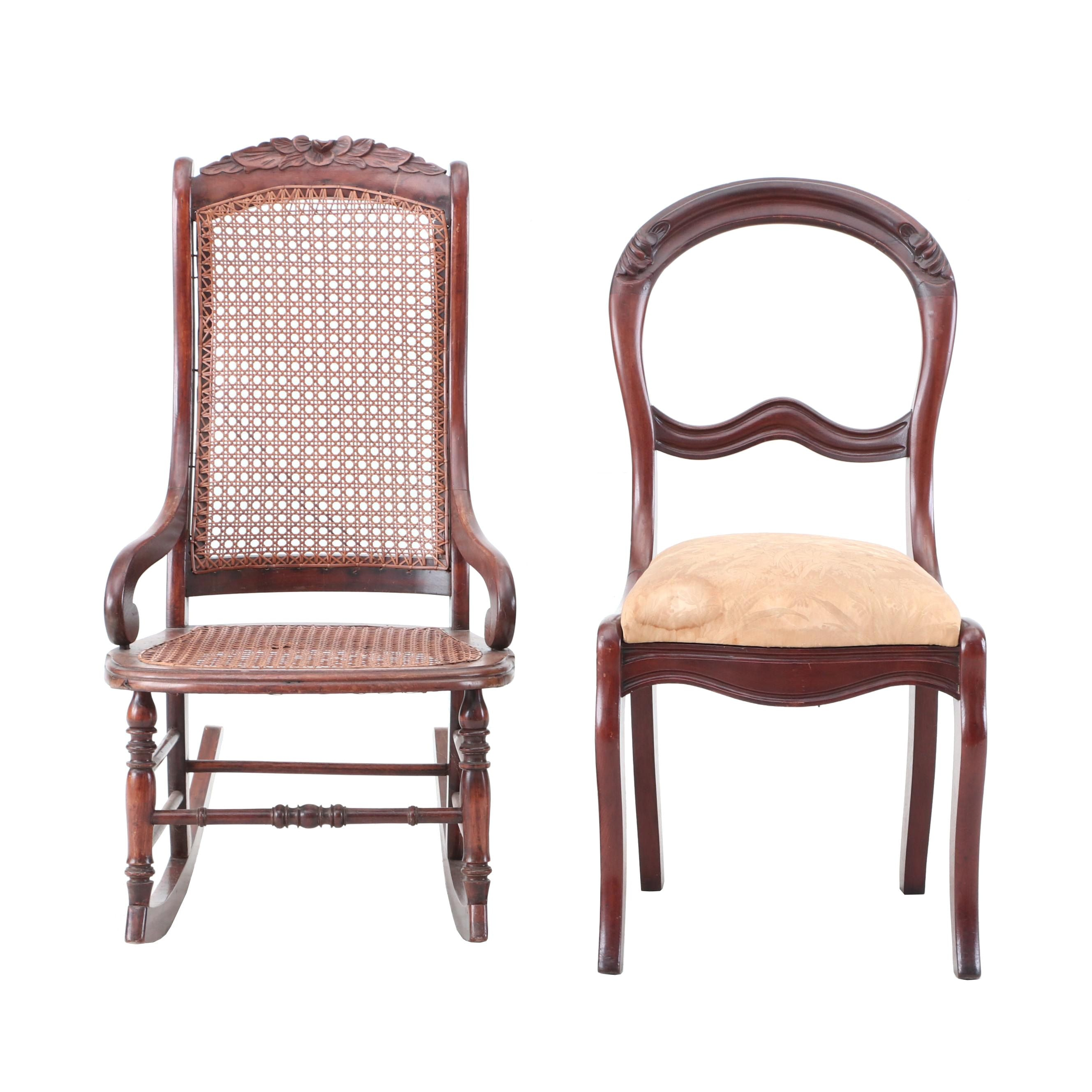 Victorian Walnut Rocking Chair and Balloon-Back Chair