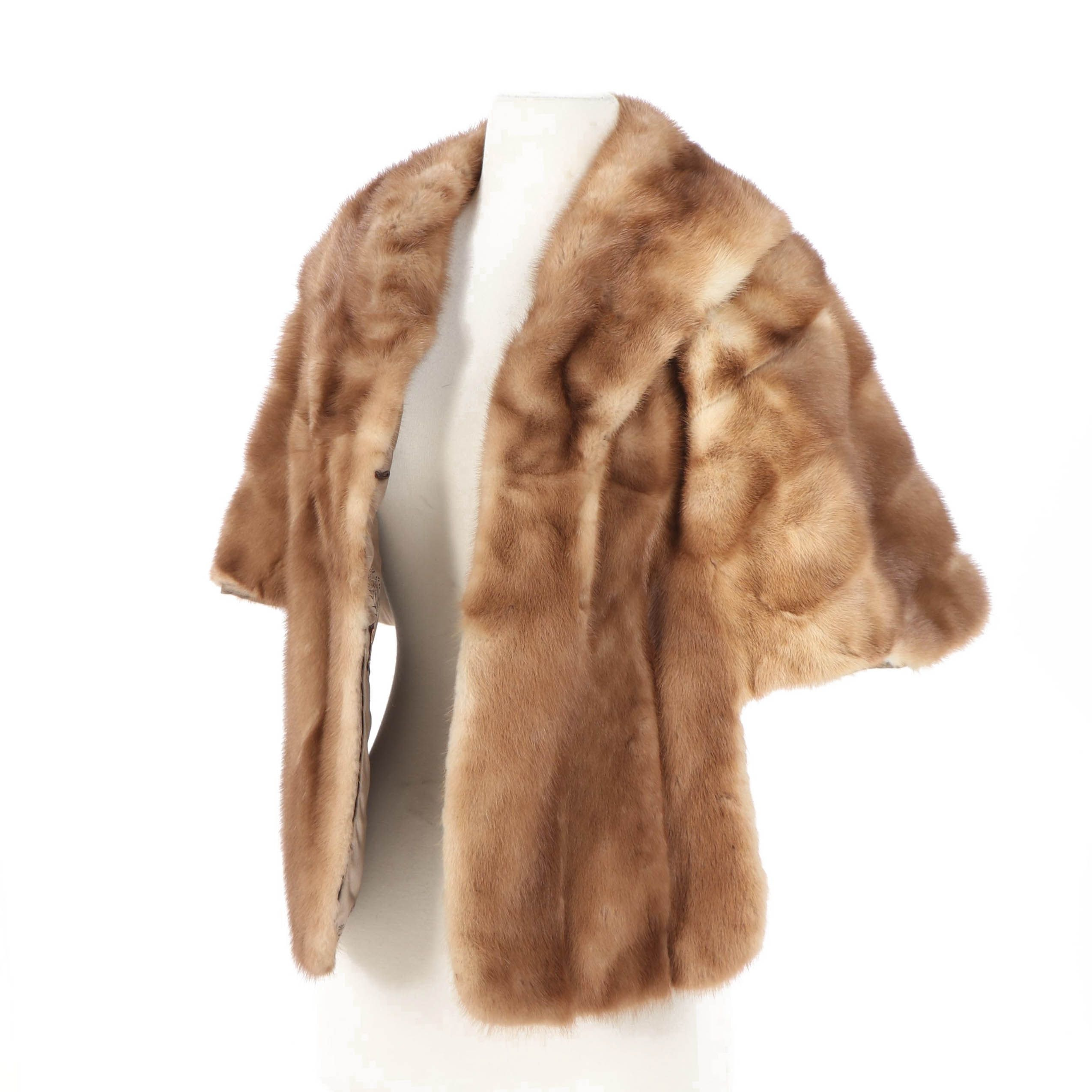 Women's Vintage Emba Autumn Haze Natural Brown Mink Fur Stole