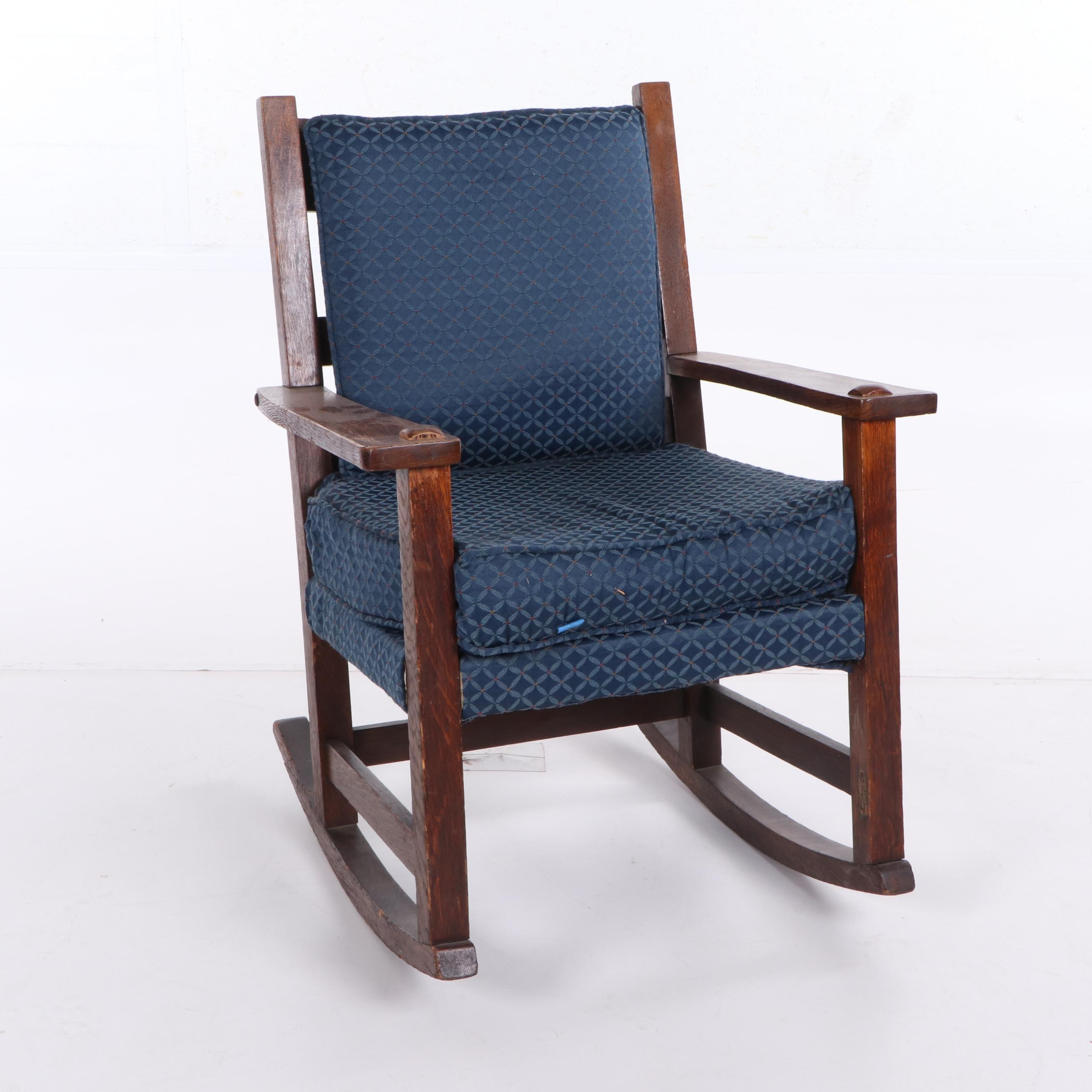 Mission Style Oak Frame Upholstered Rocking Chair, Early 20th Century