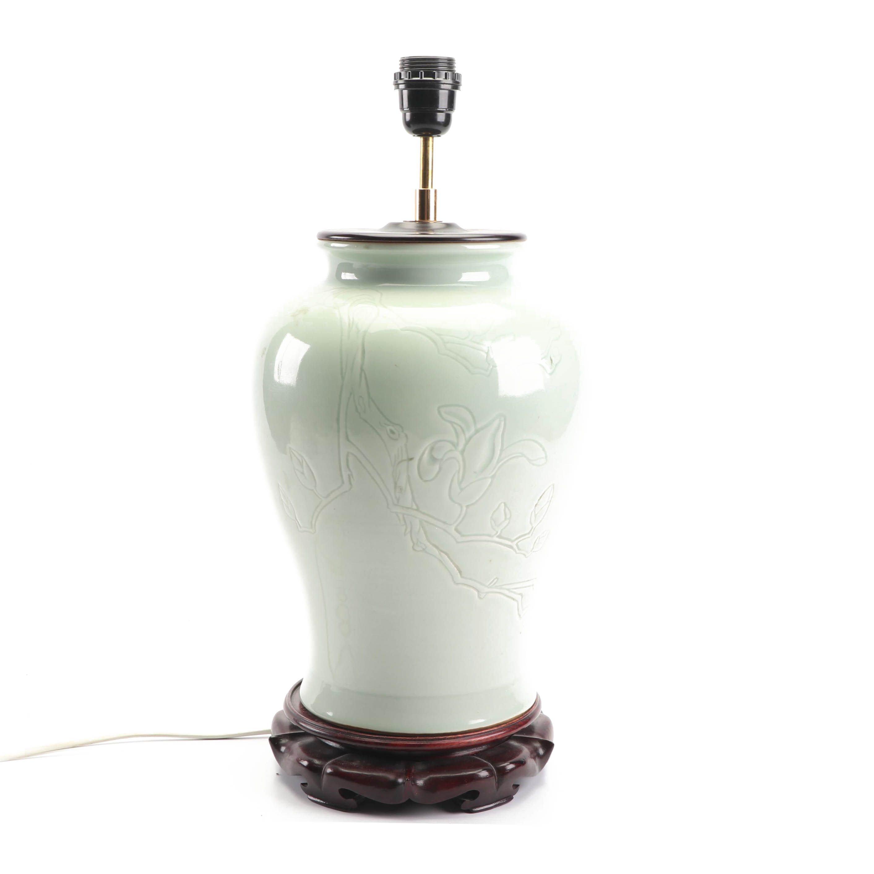 Chinese Green Celadon Ceramic Jar Table Lamp
