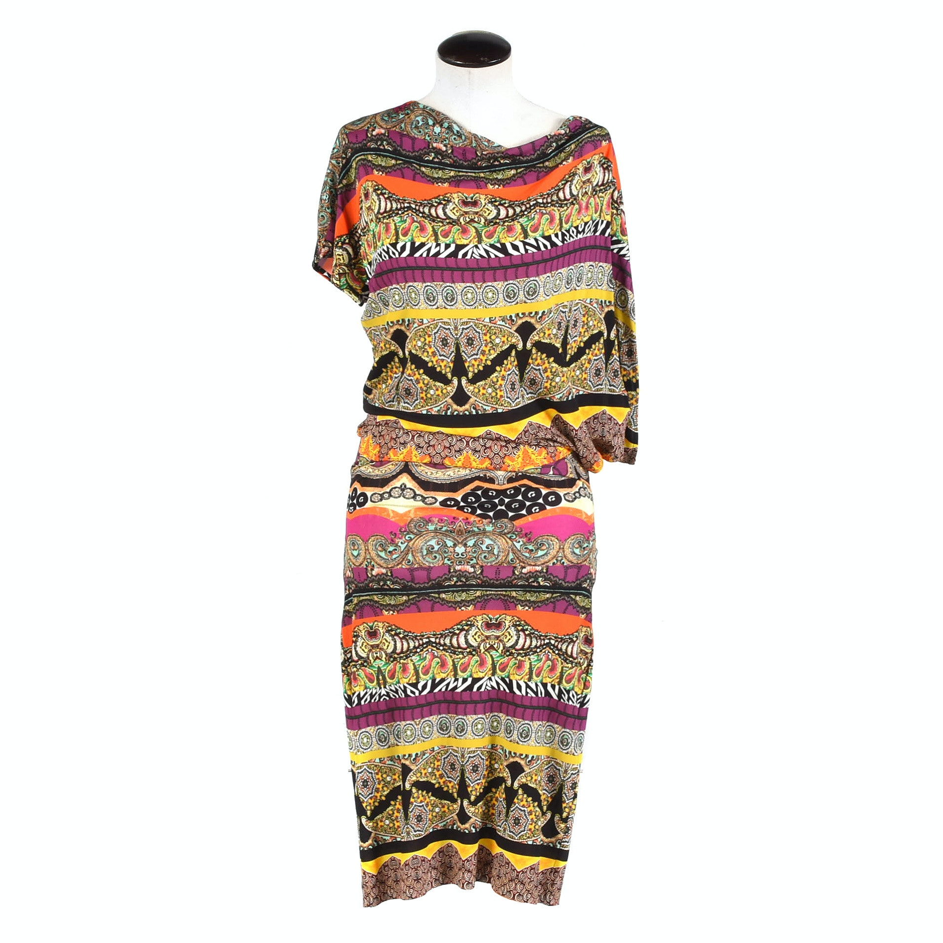 Etro Printed Jersey Asymmetrical Dress, Made in Italy