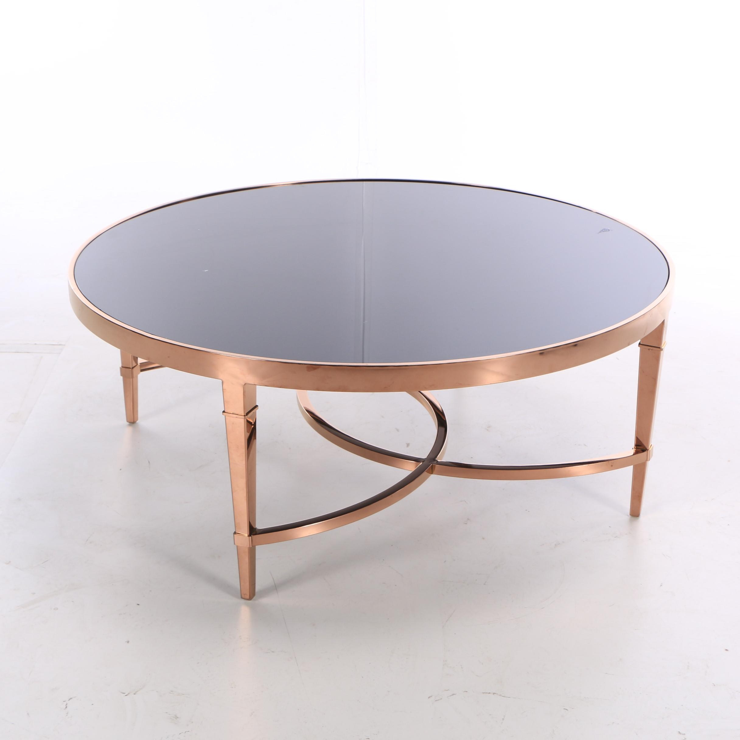 Hollywood Regency Style Smoked Glass and Metal Table, 21st Century