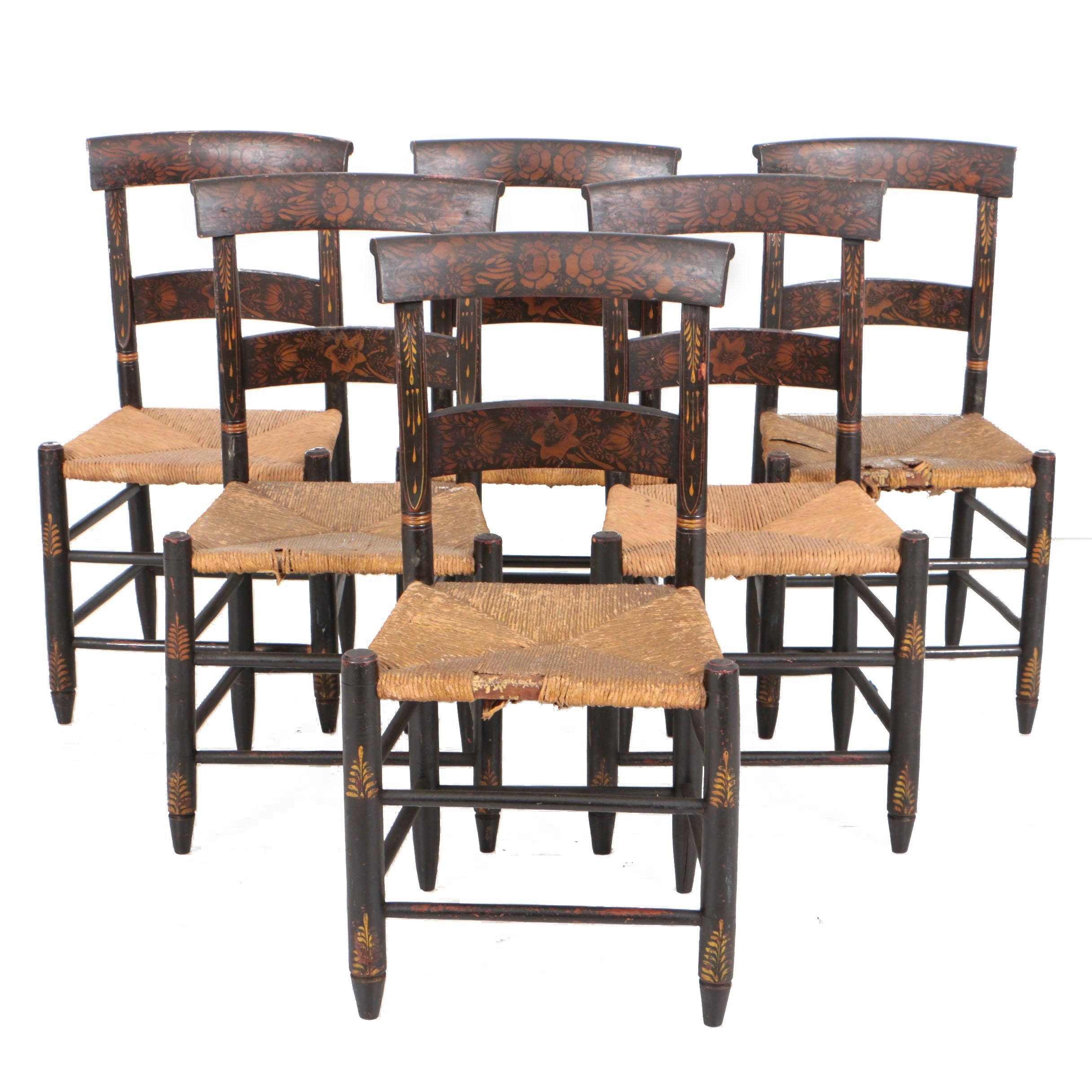 Hitchcock Style Painted and Stenciled Wood Side Chairs with Rush Seats, 19th C.