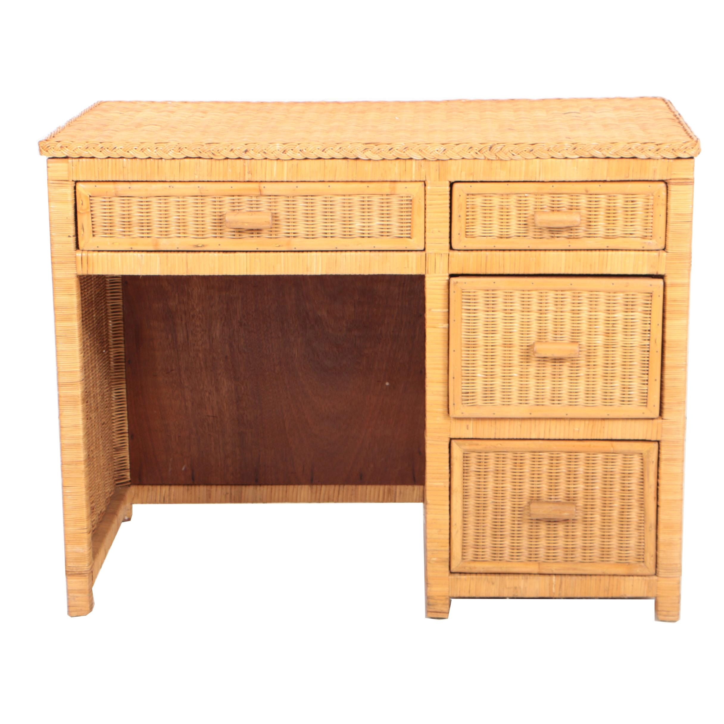 Wicker Single-Pedestal Desk, Late 20th Century
