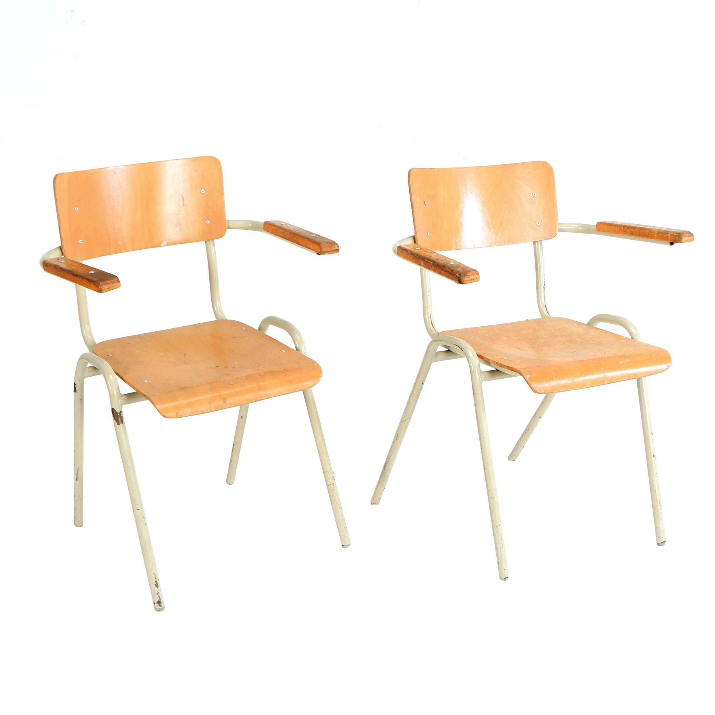 Mid Century Modern Bent Metal and Layered Plywood School Chairs, Mid-20th C.
