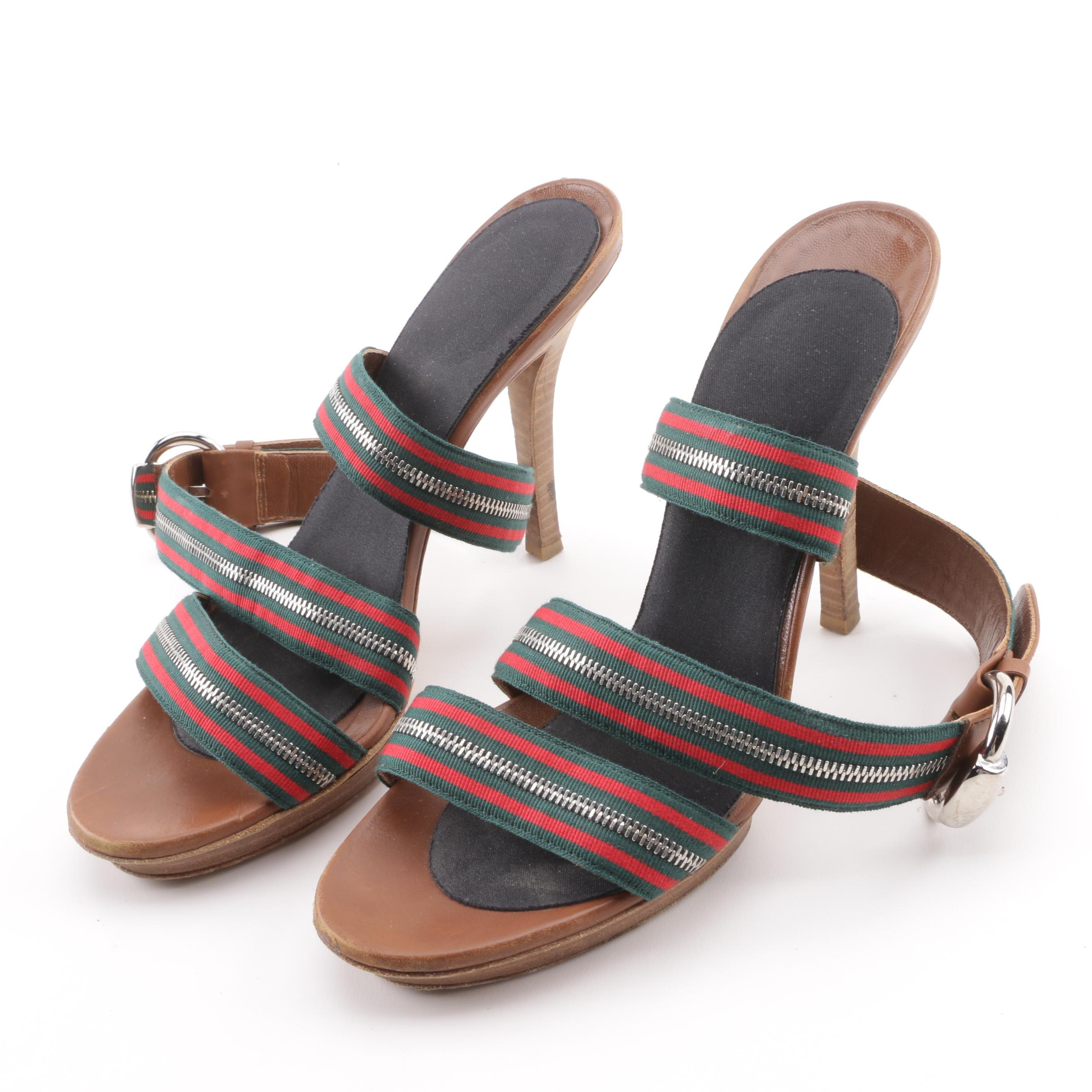 Gucci Web Crossover Platform Sandals with Zipper Accents