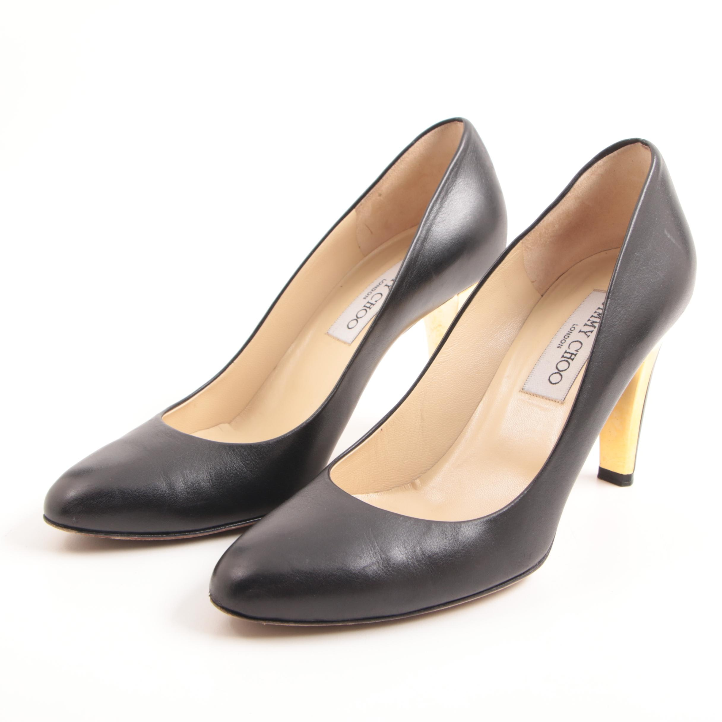 Jimmy Choo London Black Leather Pumps with Gold Tone Detailing