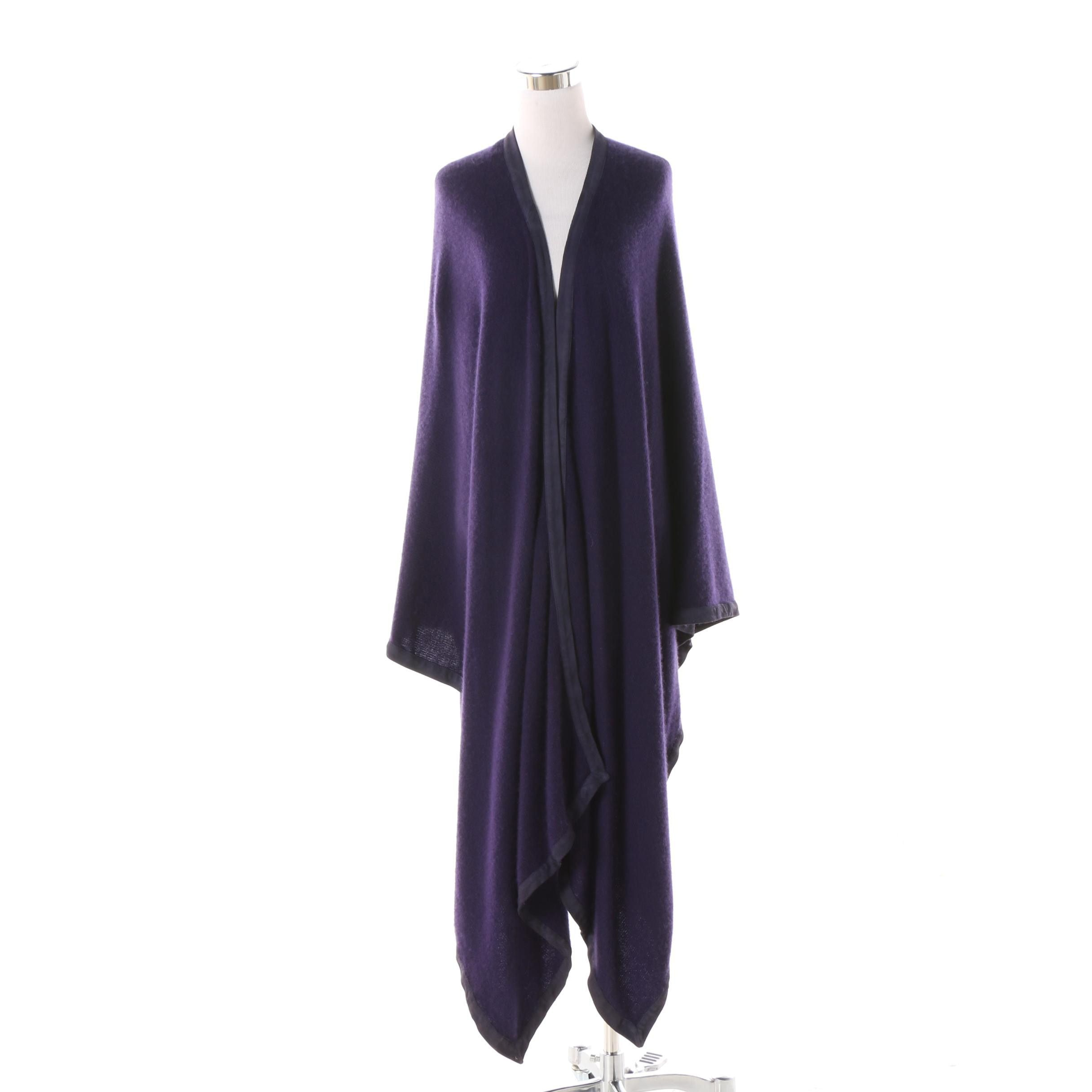 Women's Ralph Lauren Collection Purple Cashmere and Suede Shrug