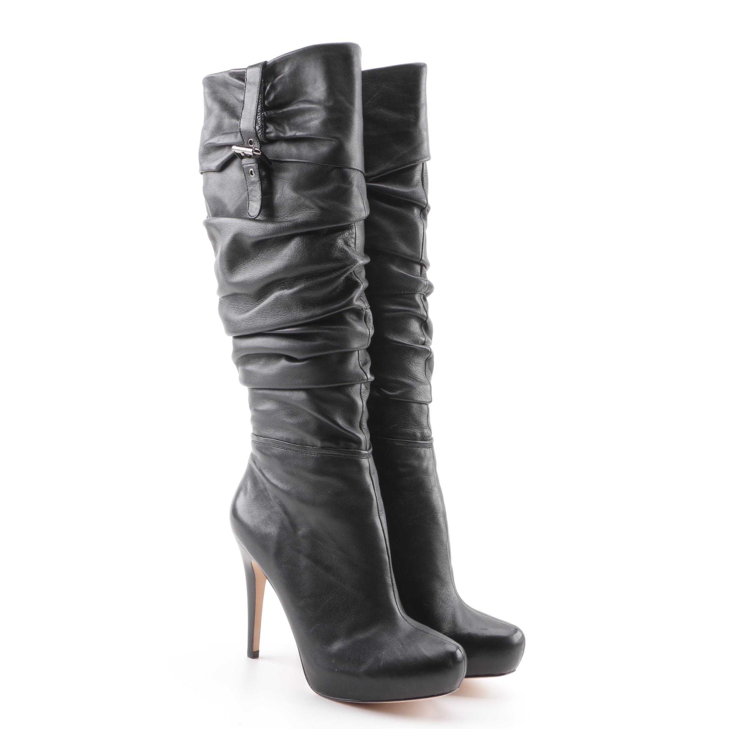Women's Charles David Black Leather Platform Tall Boots