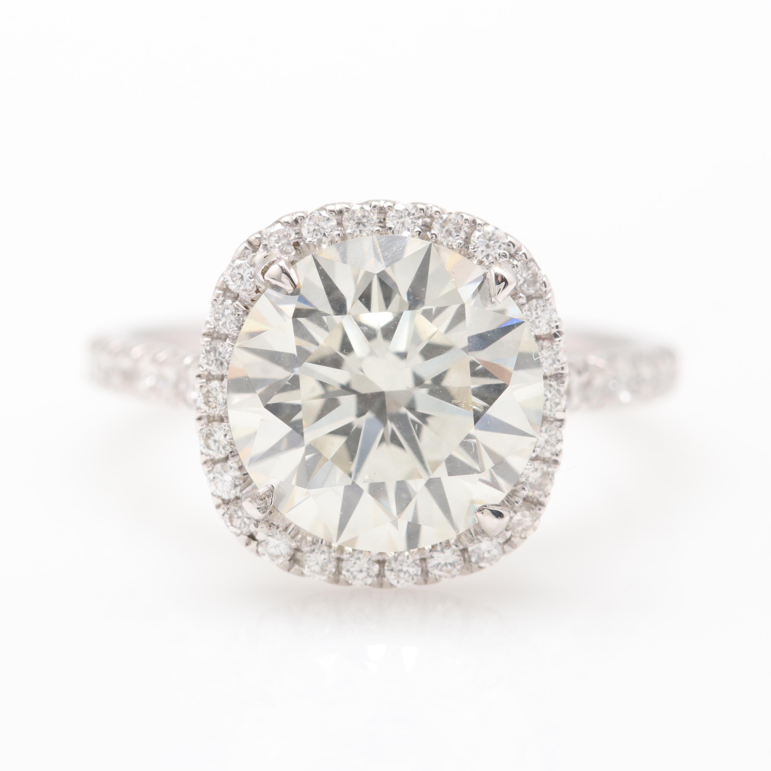 18K White Gold 3.99 CTW Diamond Ring