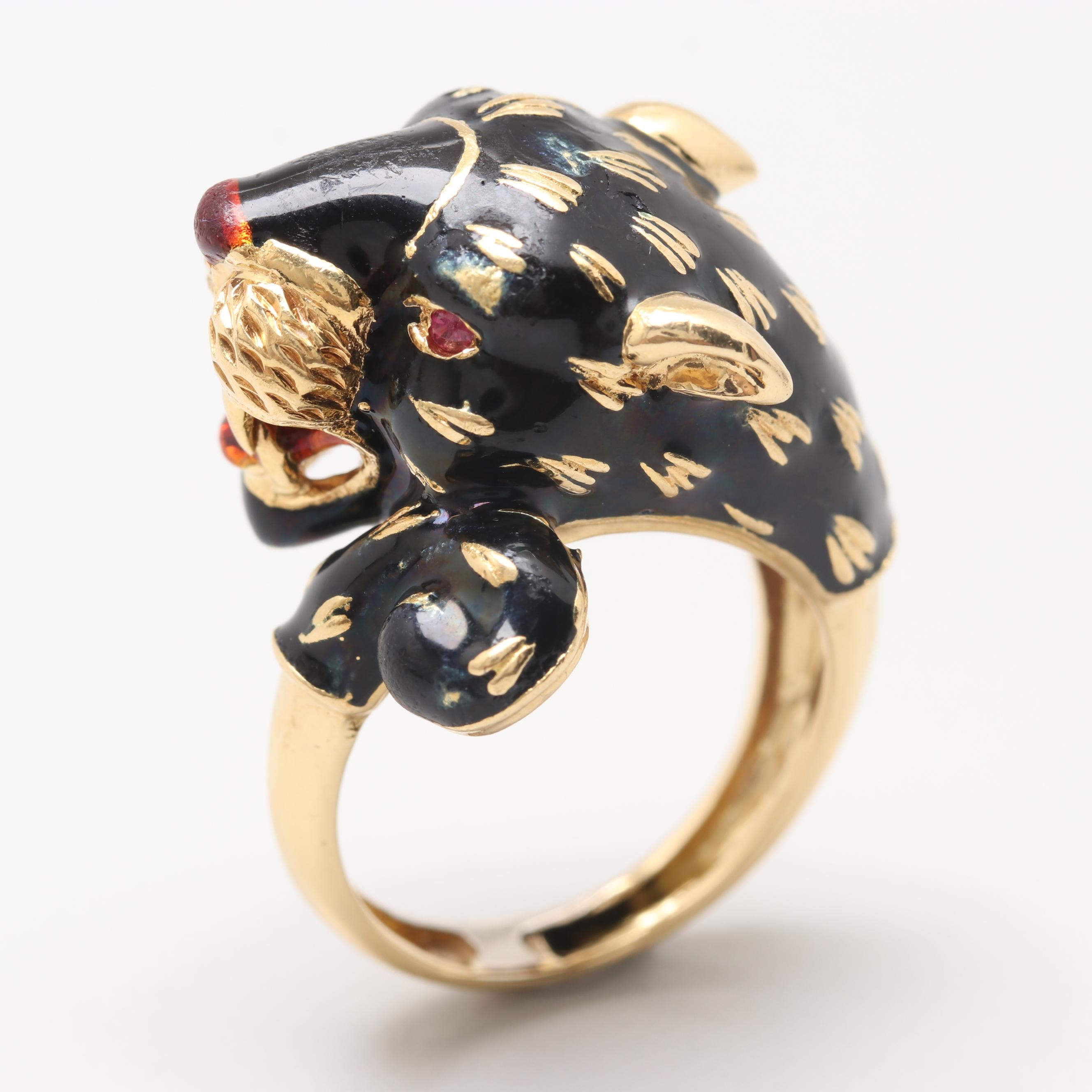 Circa 1960s Frascarolo Italy 18K Yellow Gold Enamel and Ruby Ring