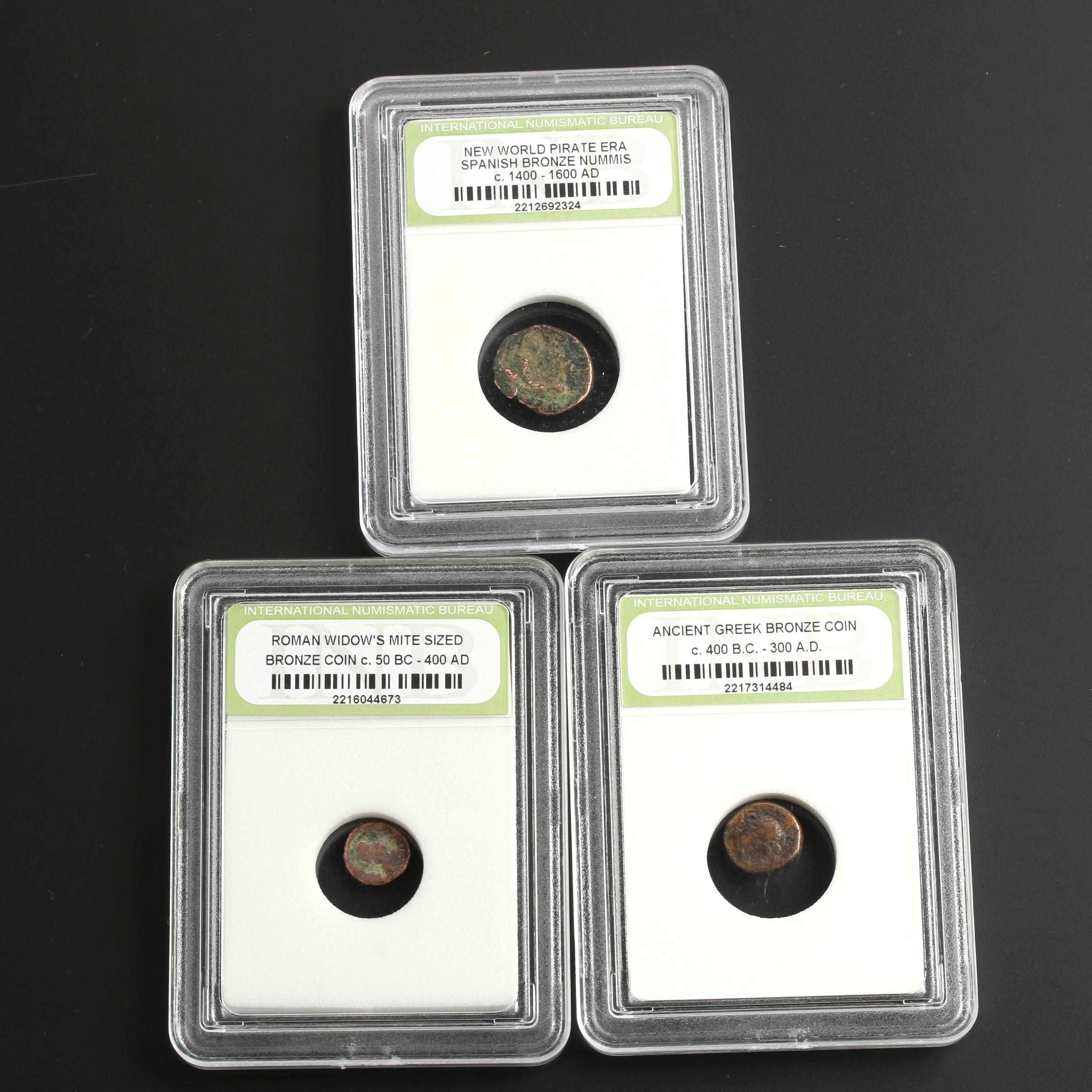 Group of Three Historic Coins Including a Roman Widow's Mite Sized Bronze Coin