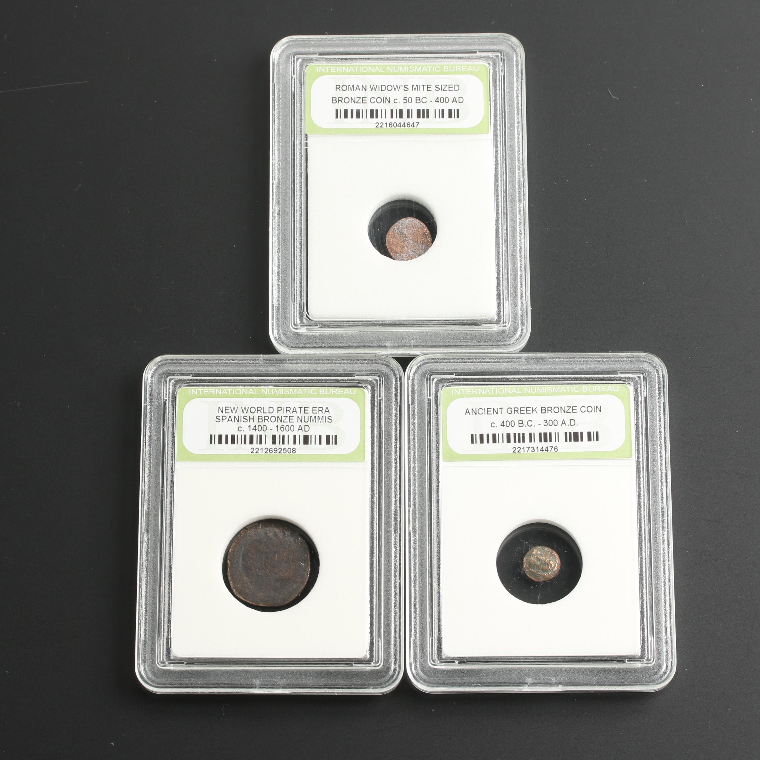 Group of Three Historic Bronze Coins Including a Pirate Era Spanish Nummis Coin
