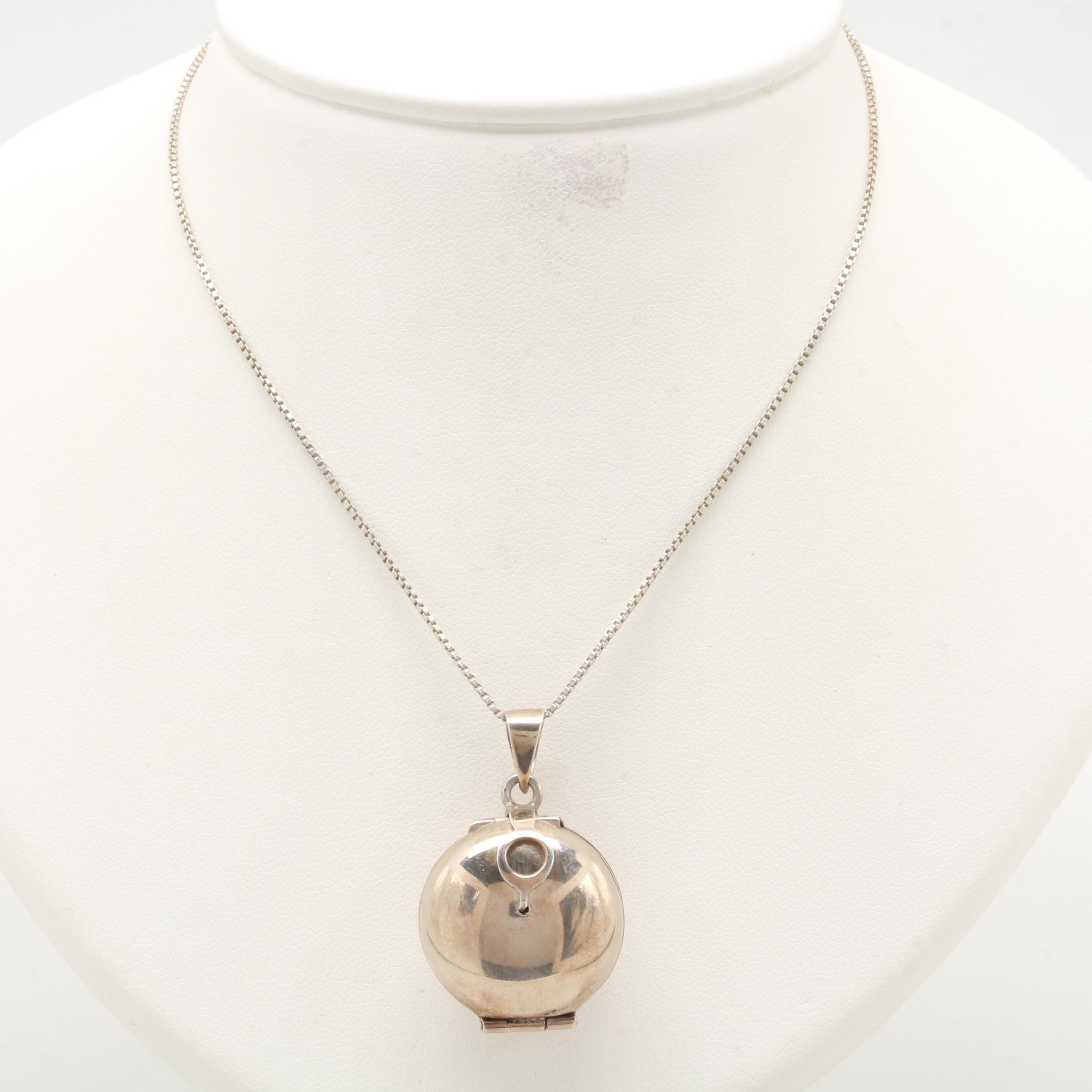 Sterling Silver Expanding Locket Pendant Necklace