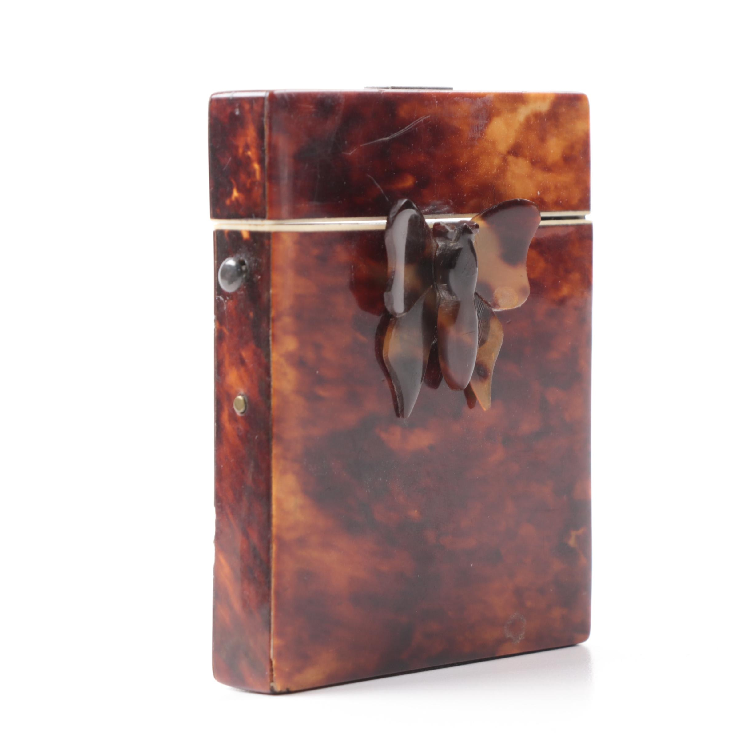 19th Century Tortoise Shell Card Case with Moth