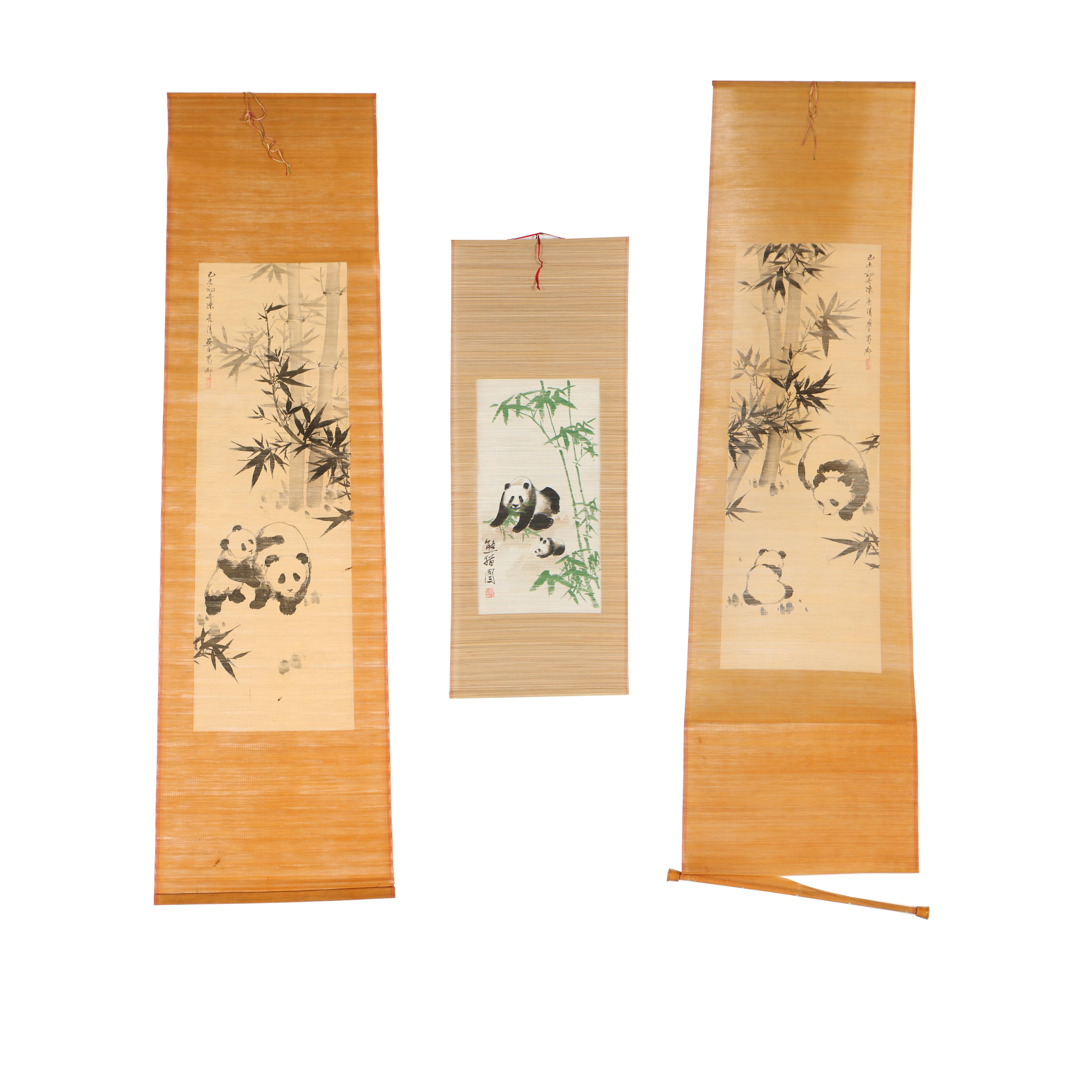 Chinese Ink Drawings and Gouache Painting on Bamboo of Pandas
