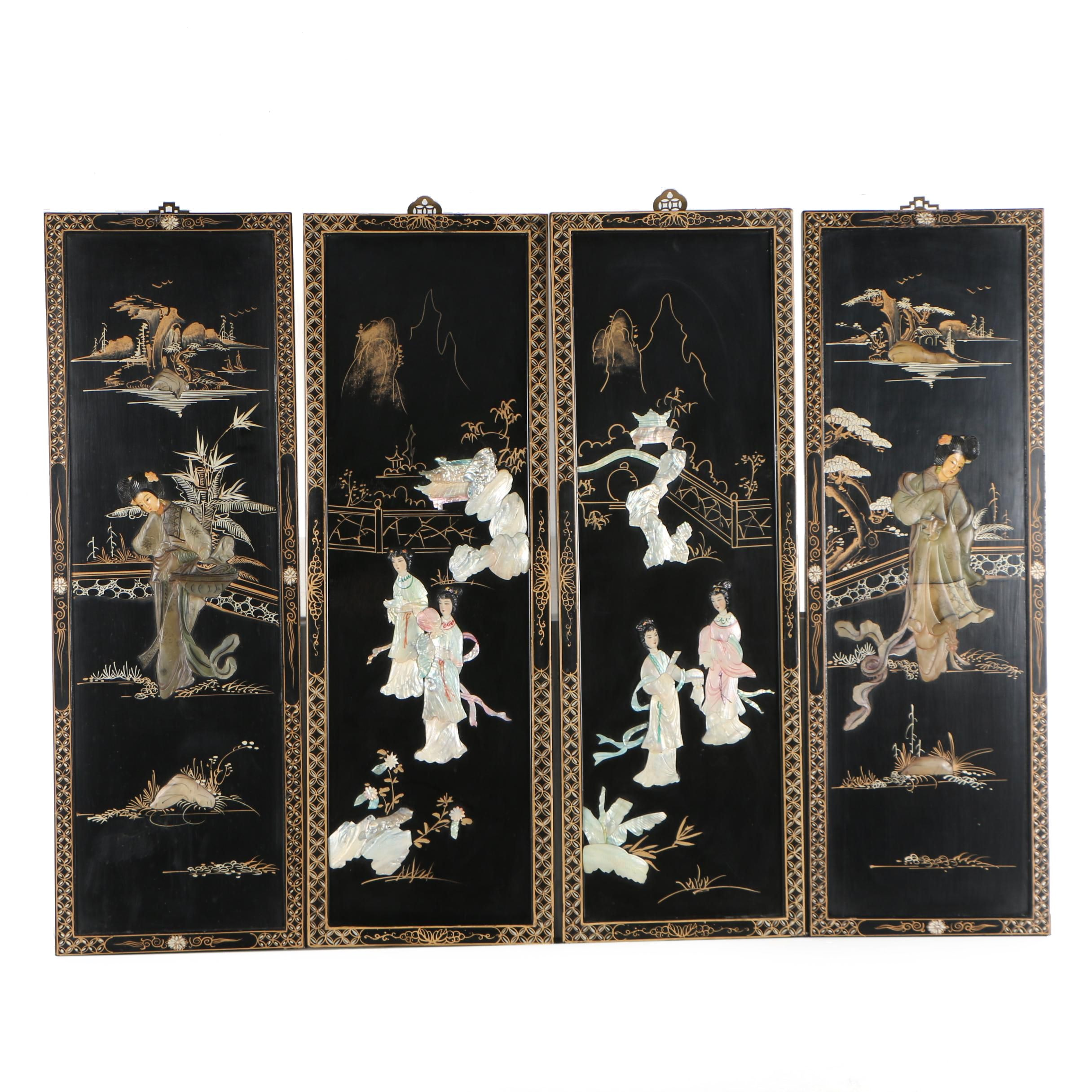 Chinese Lacquered Panels with Shell and Stone Relief