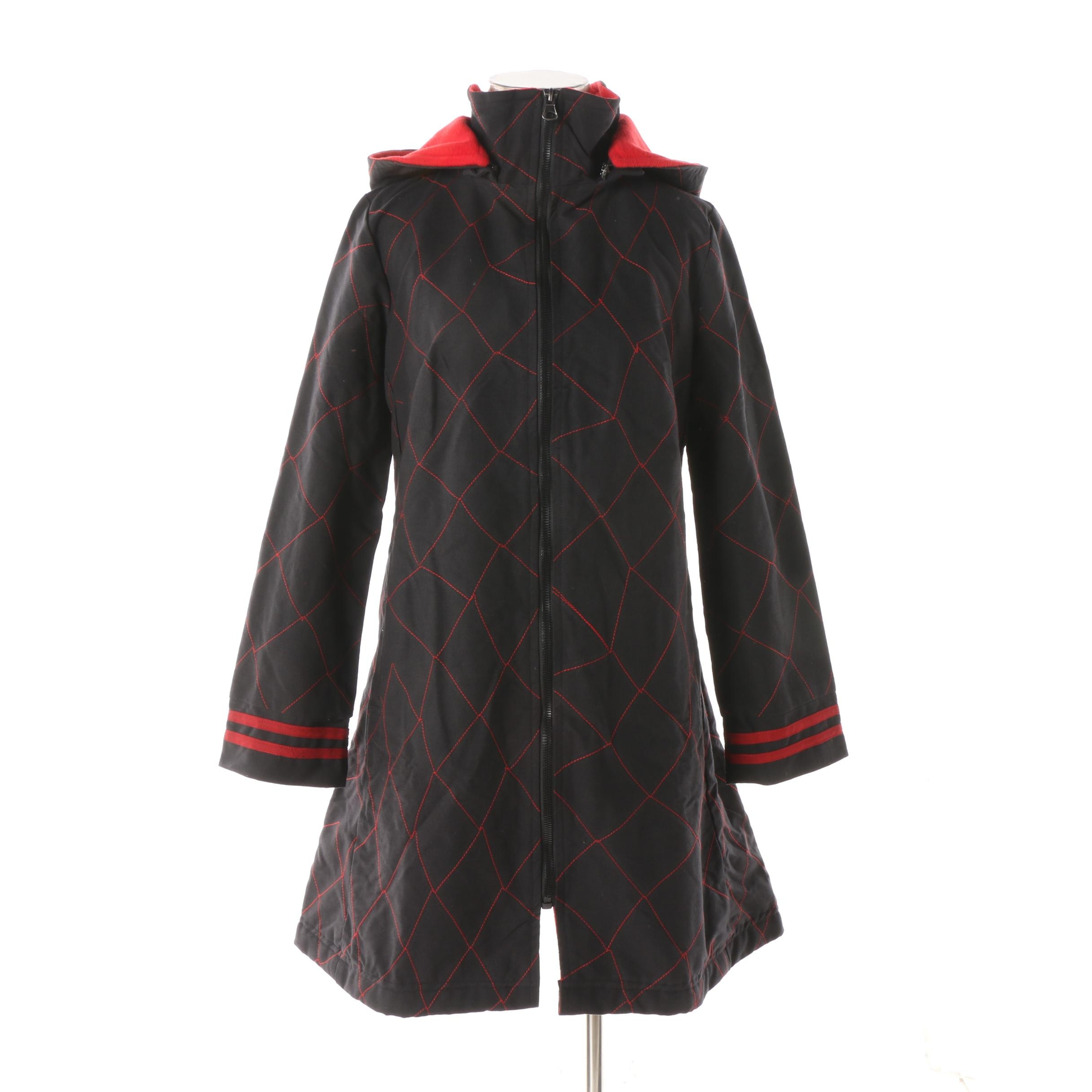Women's Aller Simplement Black and Red Hooded Zipper-Front Jacket