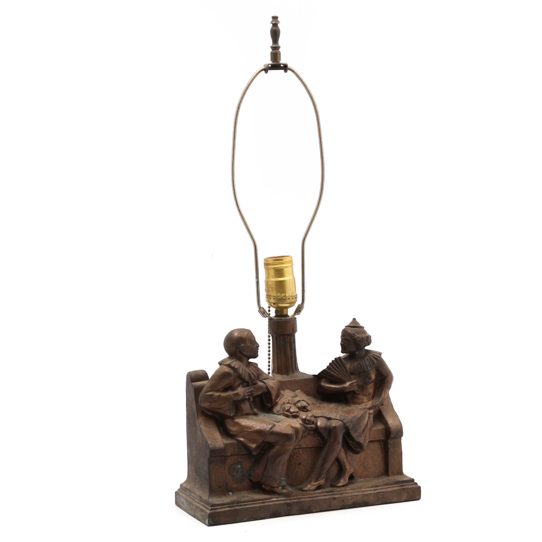 Art Nouveau Style Figural Courting Couple Cast Metal Table Lamp, Mid-Century