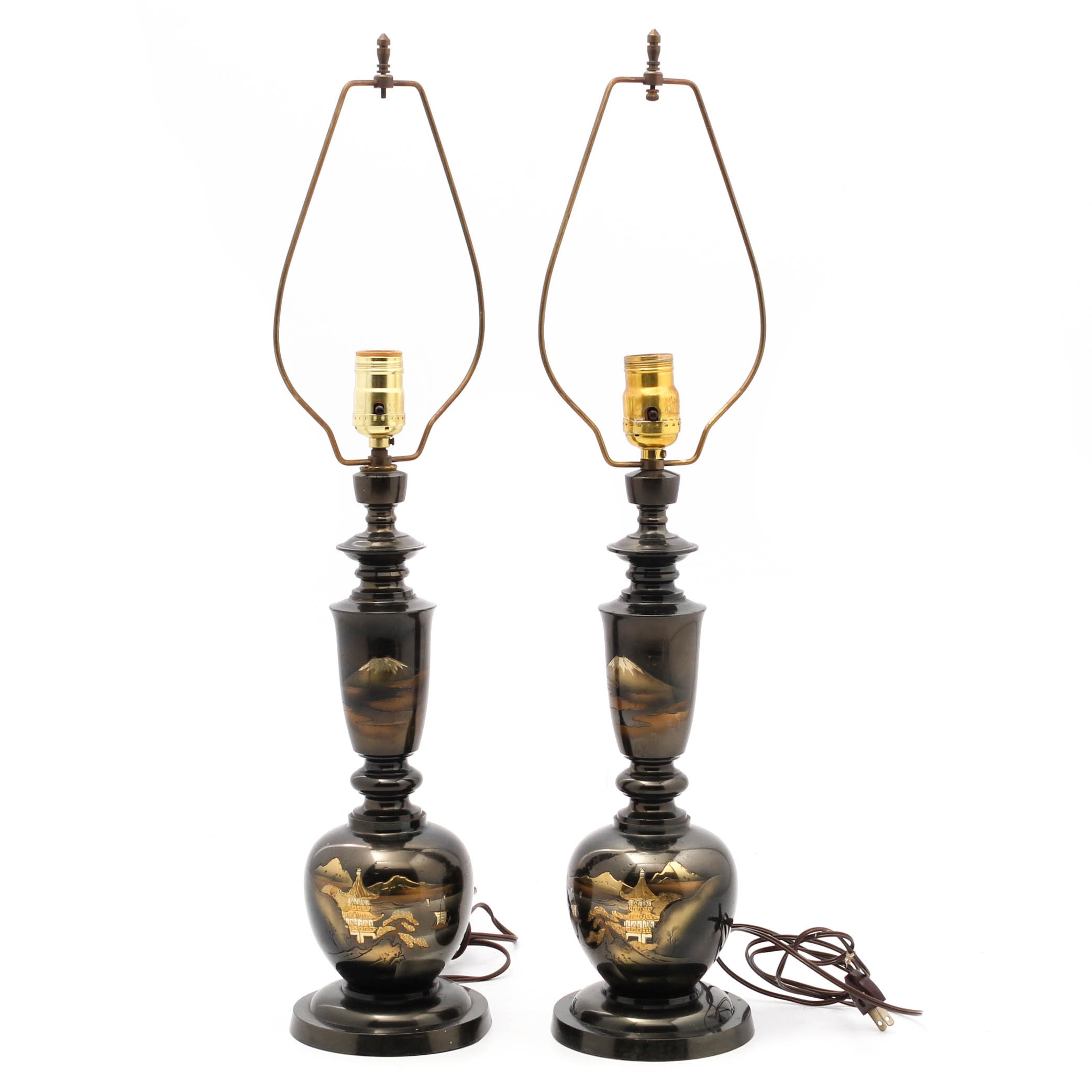 Japanese Mixed Metal Tapered Table Lamps, Mid-Century