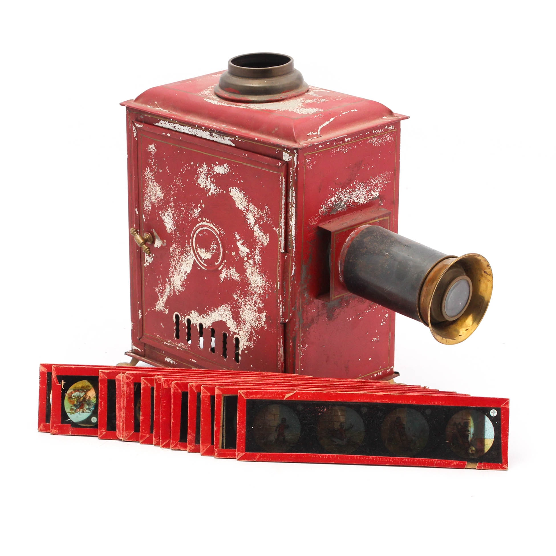 Antique Red Magic Lantern Projector with Slides