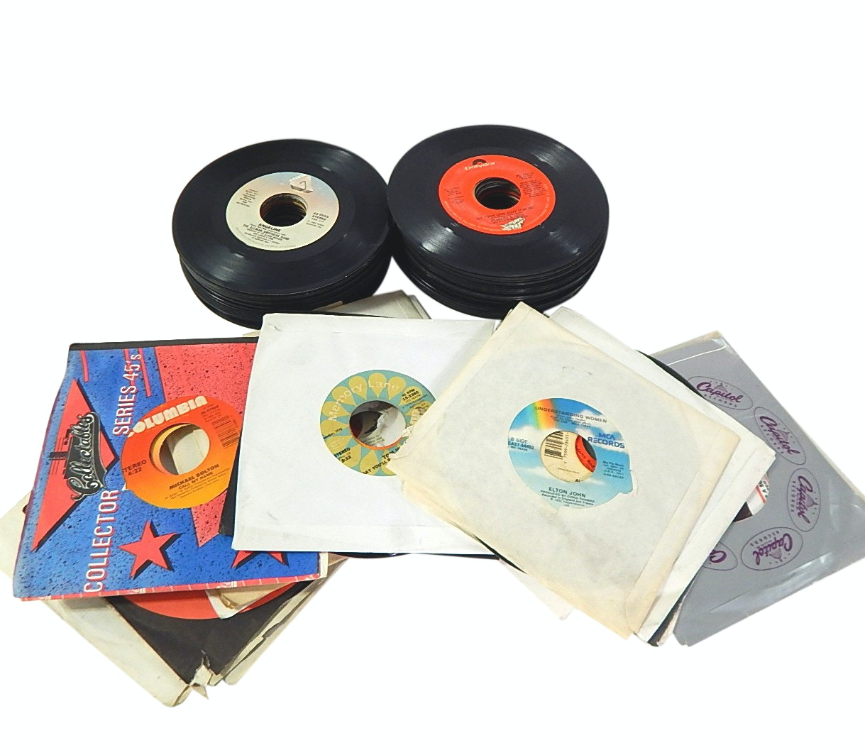 Over 80 Vintage 45 RPM Record Albums with Rock, Country, Pop