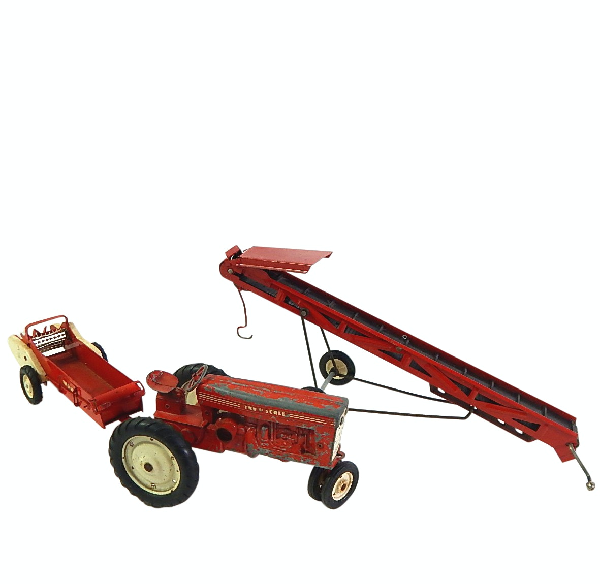 Vintage Die Cast Tru-Scale Farming Equipment with a Tractor Pull-along Conveyor