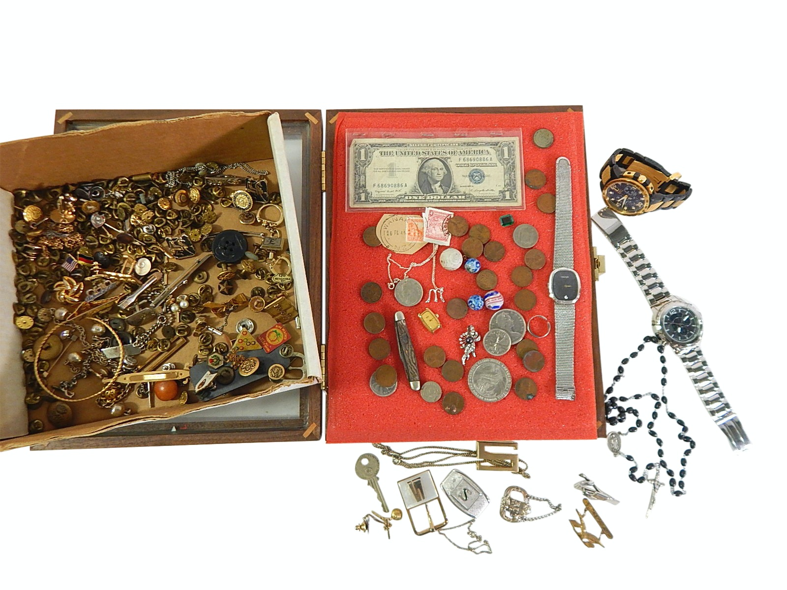 Assorted Jewelry and Coins, Knives, Currency, Watches, Pins, Rosary, Marbles