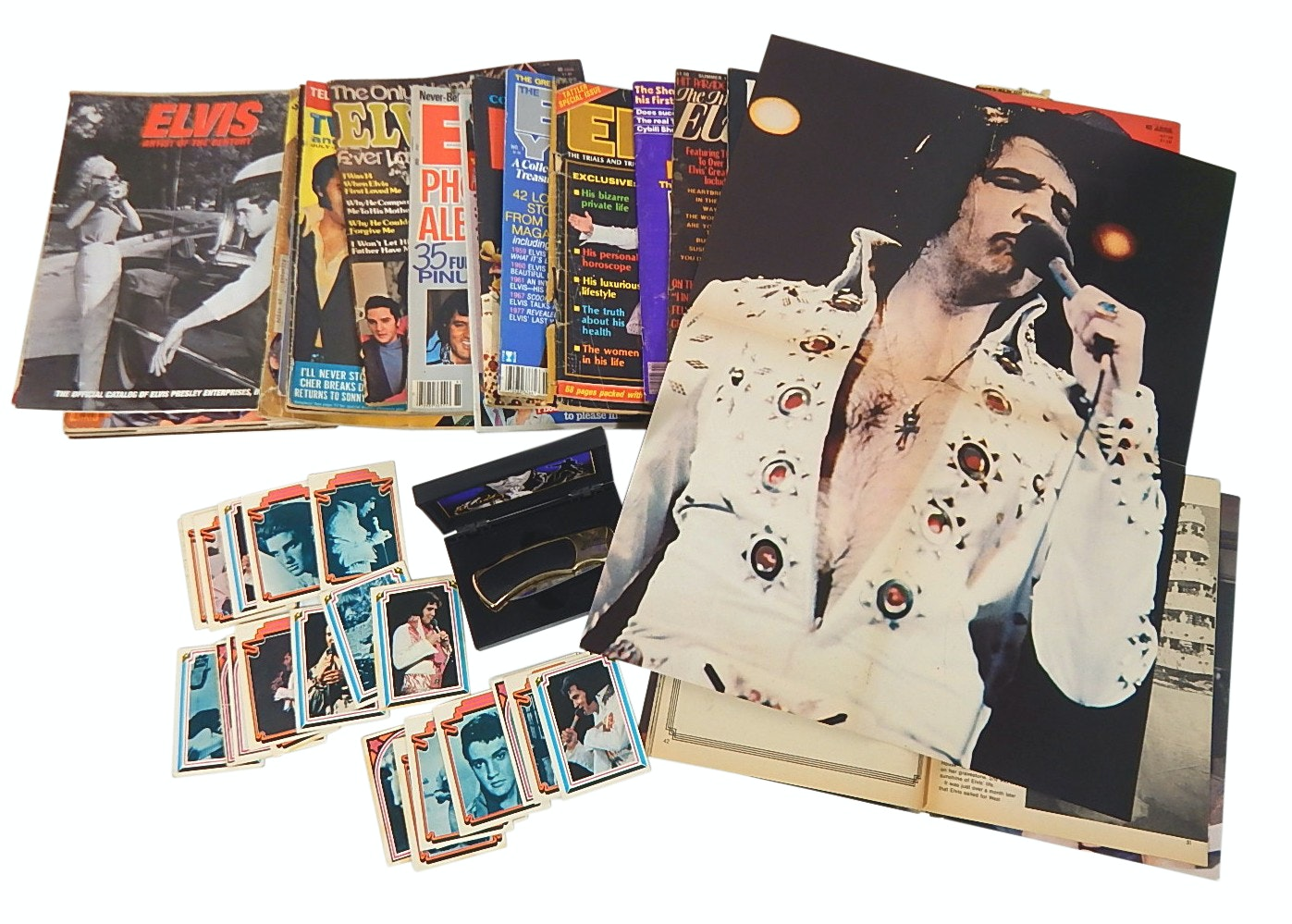 Elvis Presley Collectibles with Trading Cards and Magazines with Fold-Outs