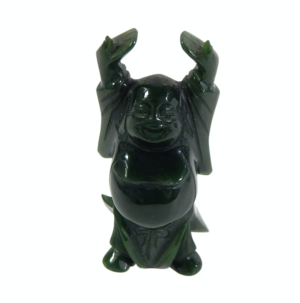 Chinese Nephrite Jade Standing Budai Carved Figurine