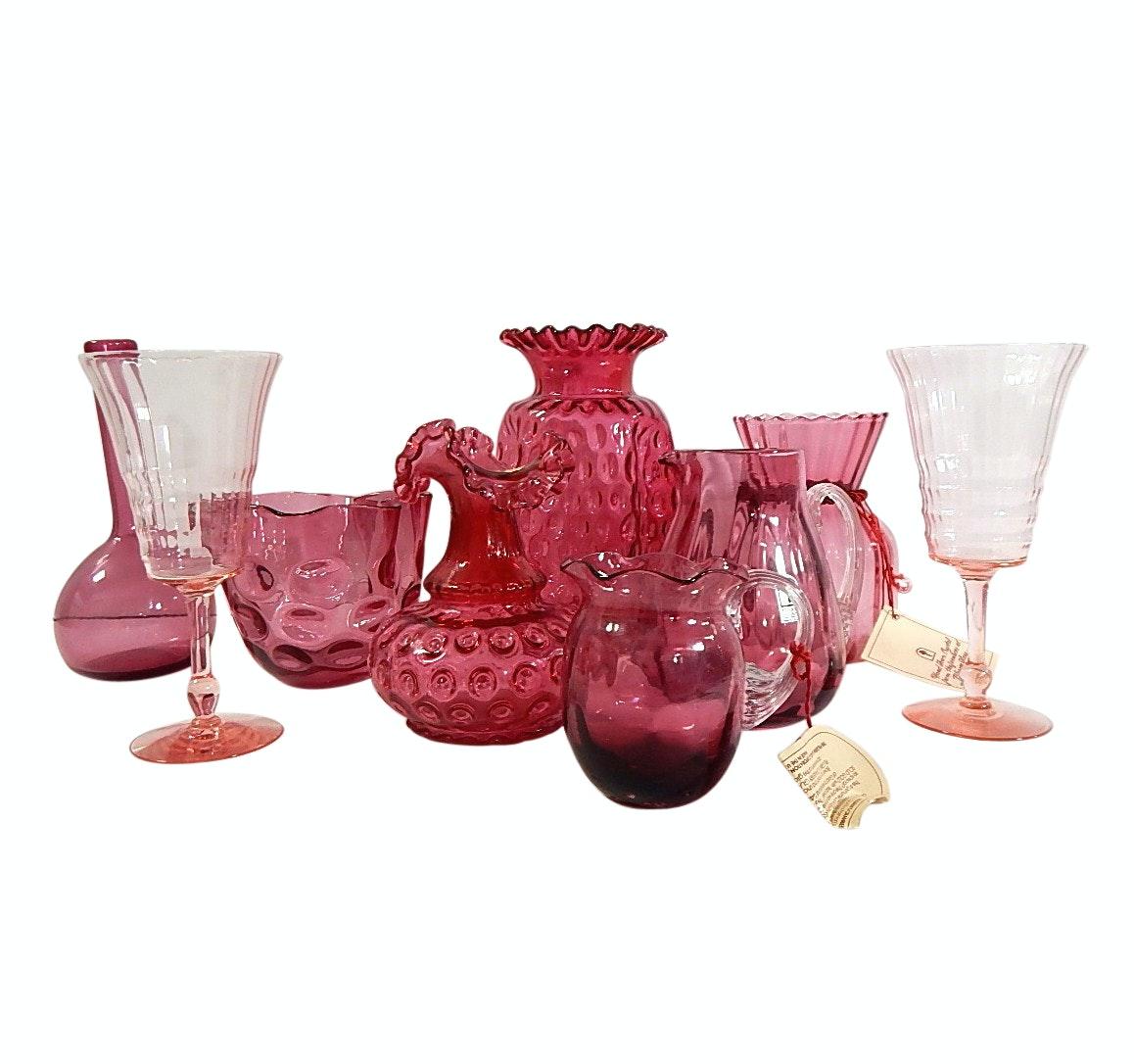 Mid Century Pilgrim Cranberry Glass and Depression Glass